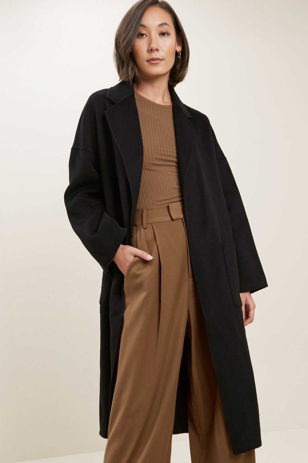 Wool Boyfriend Coat  BLACK  hi-res