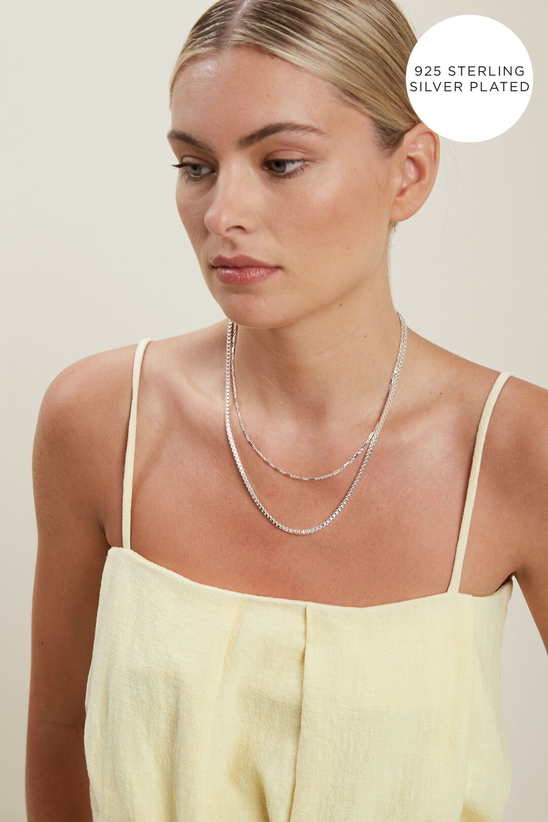 Fine Layered Chain Necklace  SILVER  hi-res