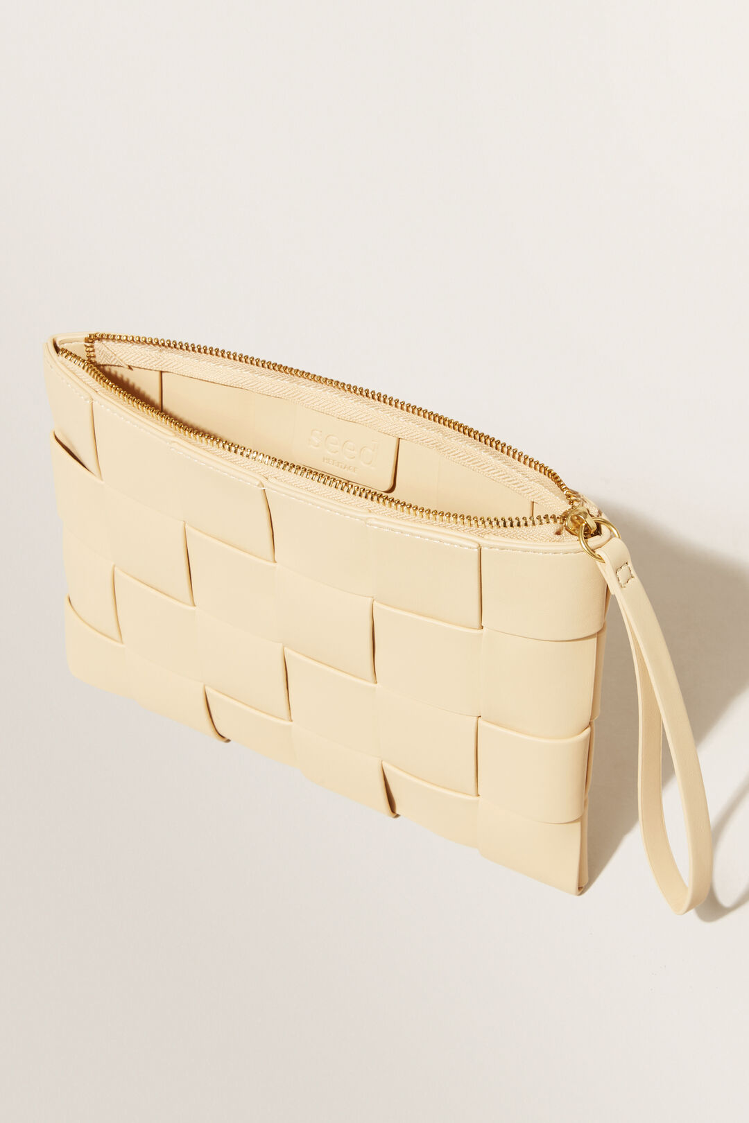 Weave Detail Clutch  BUTTER  hi-res