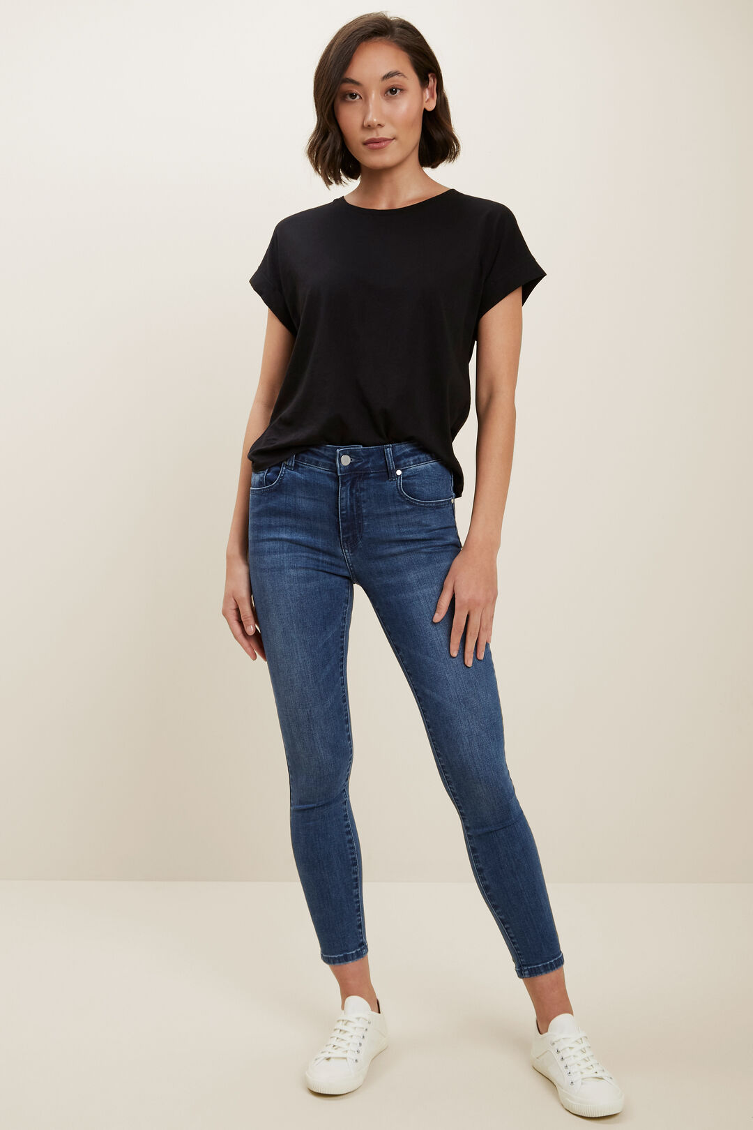 Core Rolled Cuff Tee  BLACK  hi-res