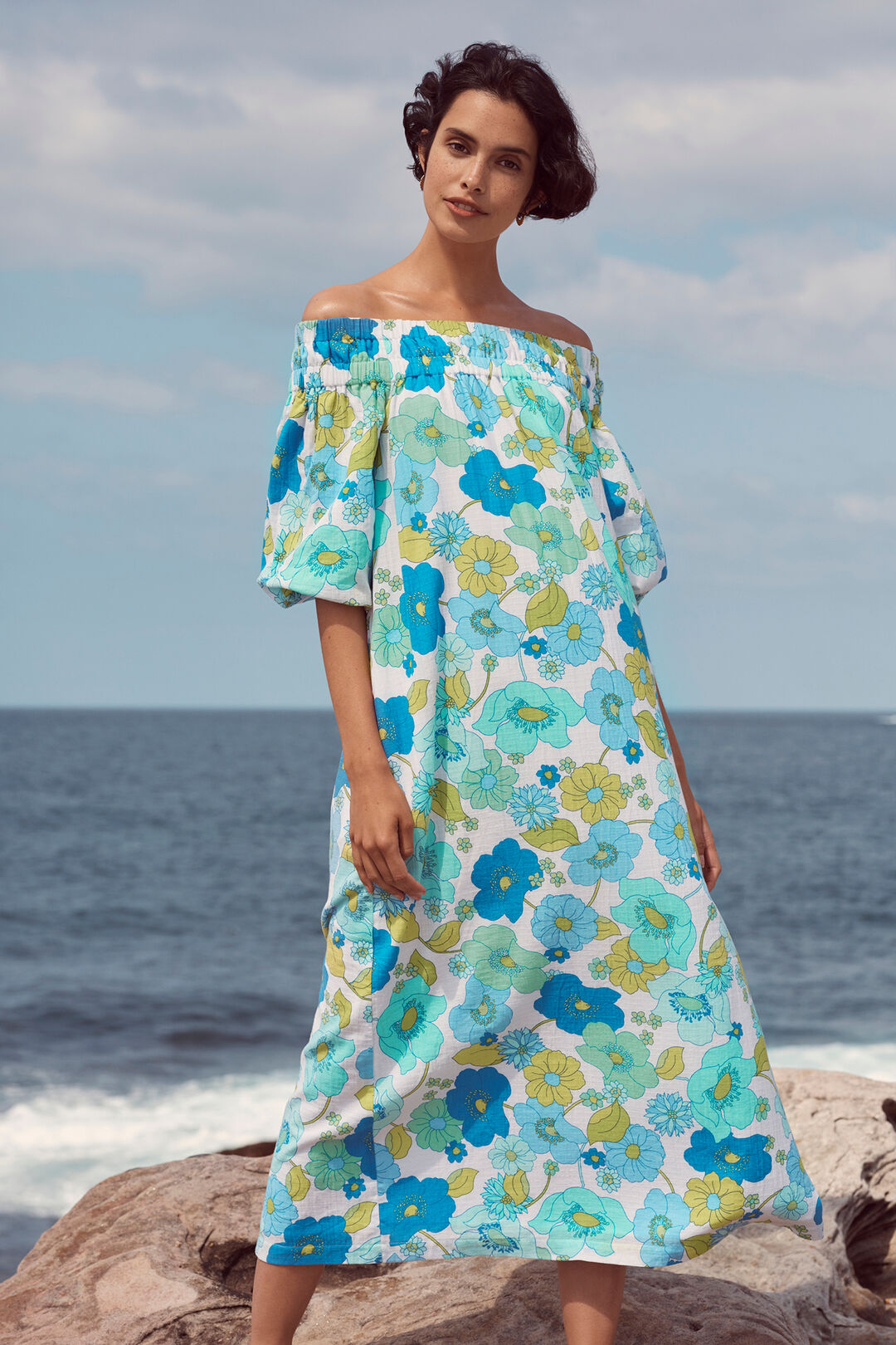 Retro Floral Off Shoulder Dress  RETRO FLORAL  hi-res