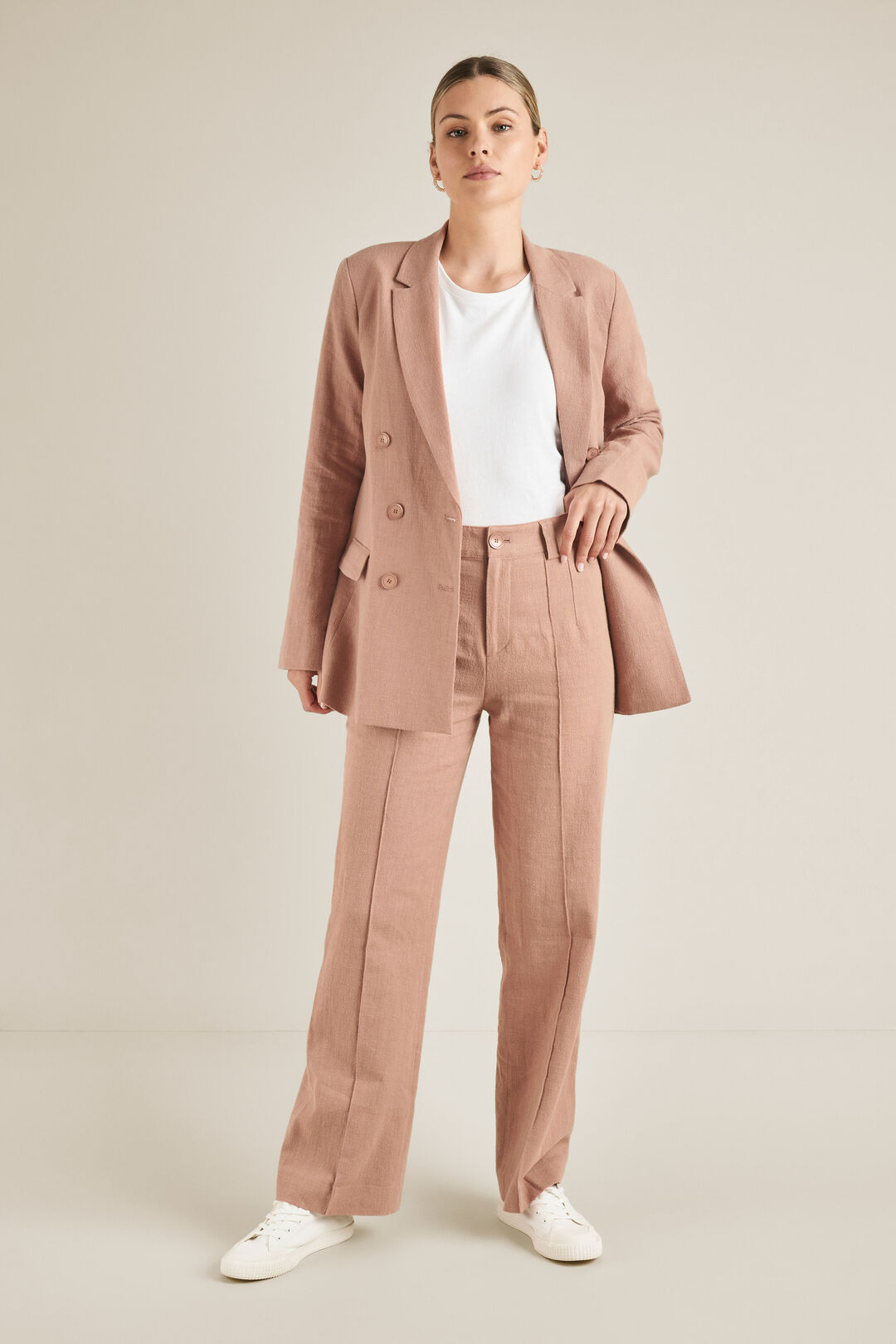 Textured Trousers  DUSTY PEACH  hi-res