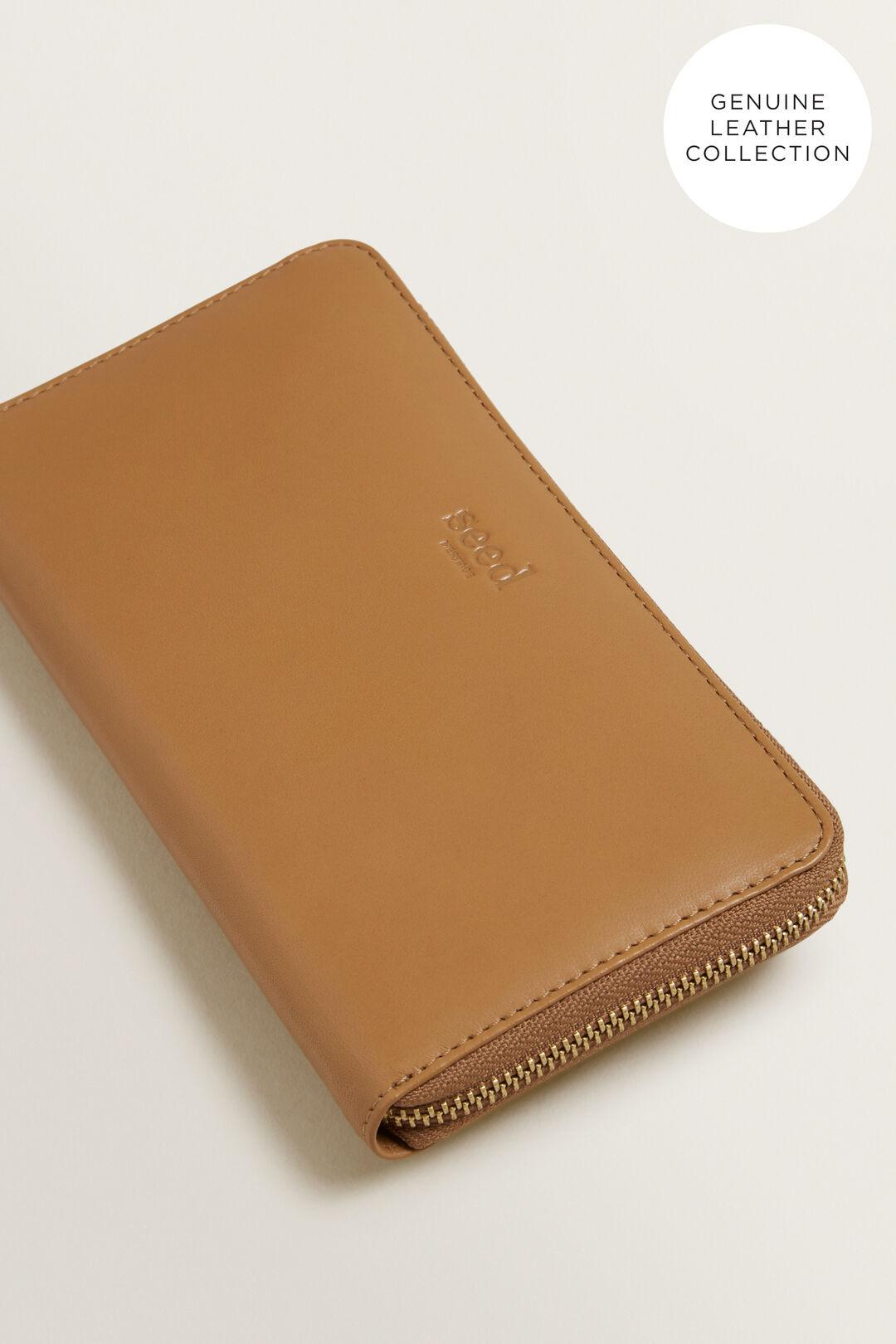 Leather Zip Around Wallet  LIGHT TAN  hi-res