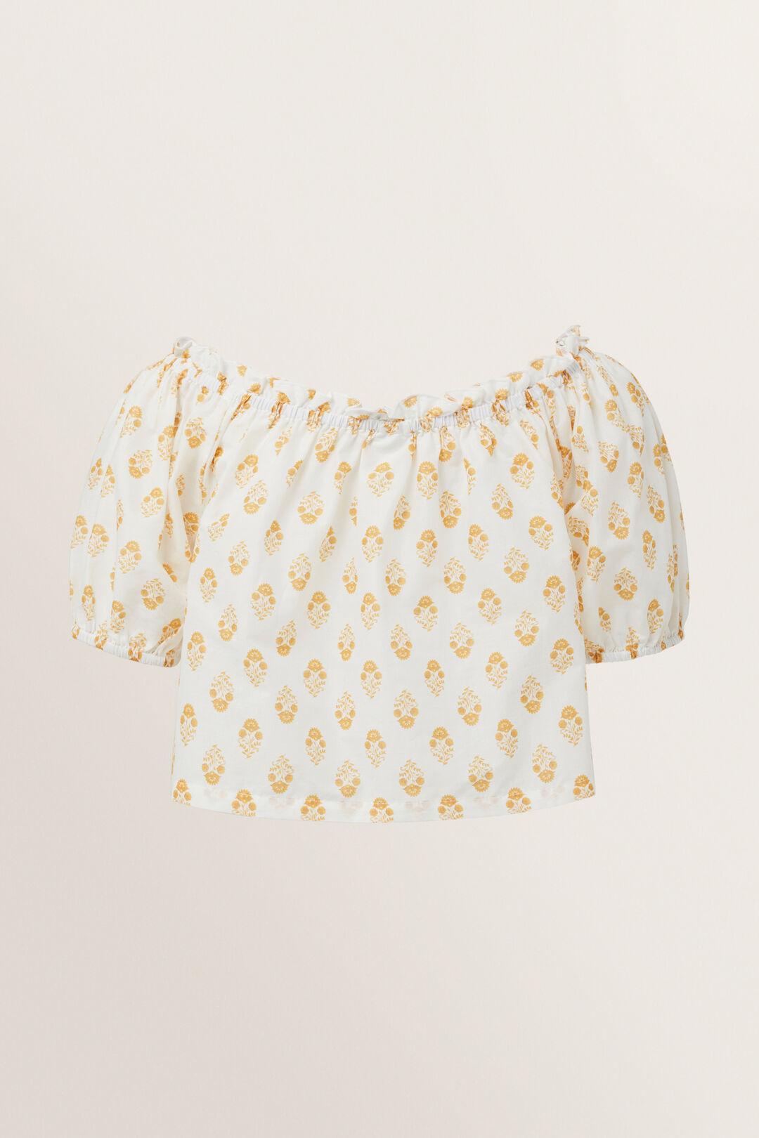 Batik Print Top  CHALK  hi-res