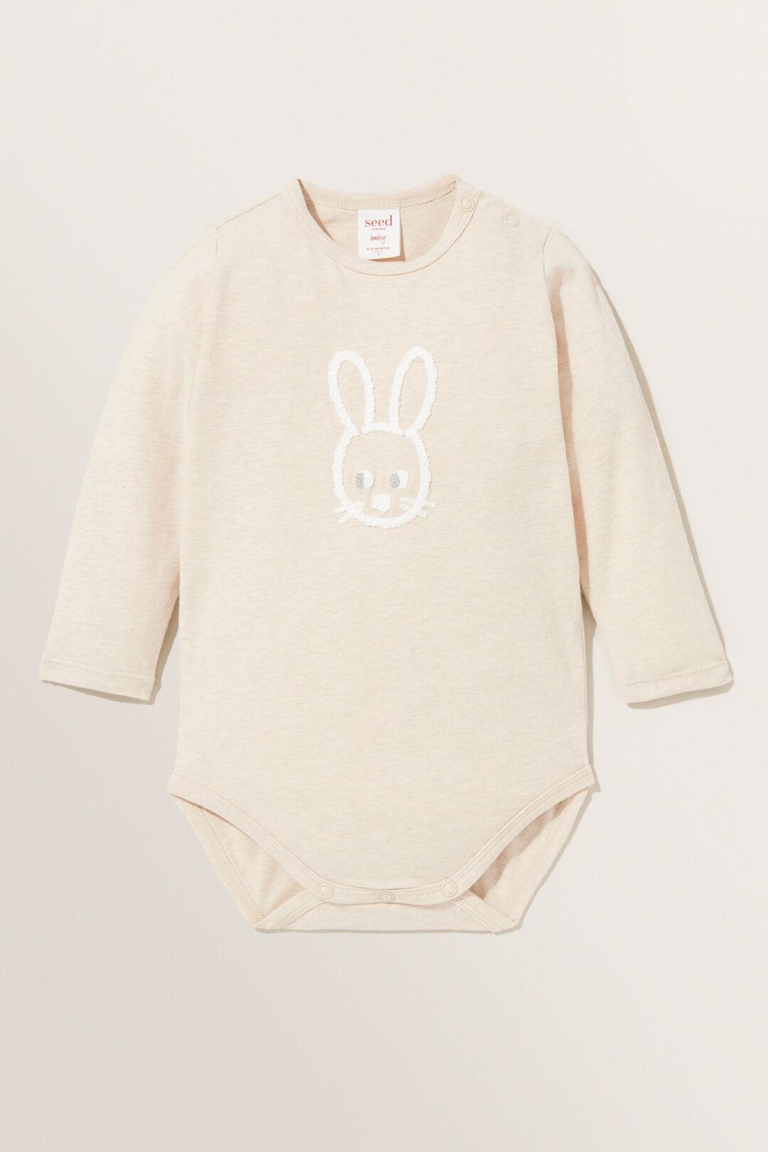 Chenille Bunny Bodysuit  WHEAT MARLE  hi-res