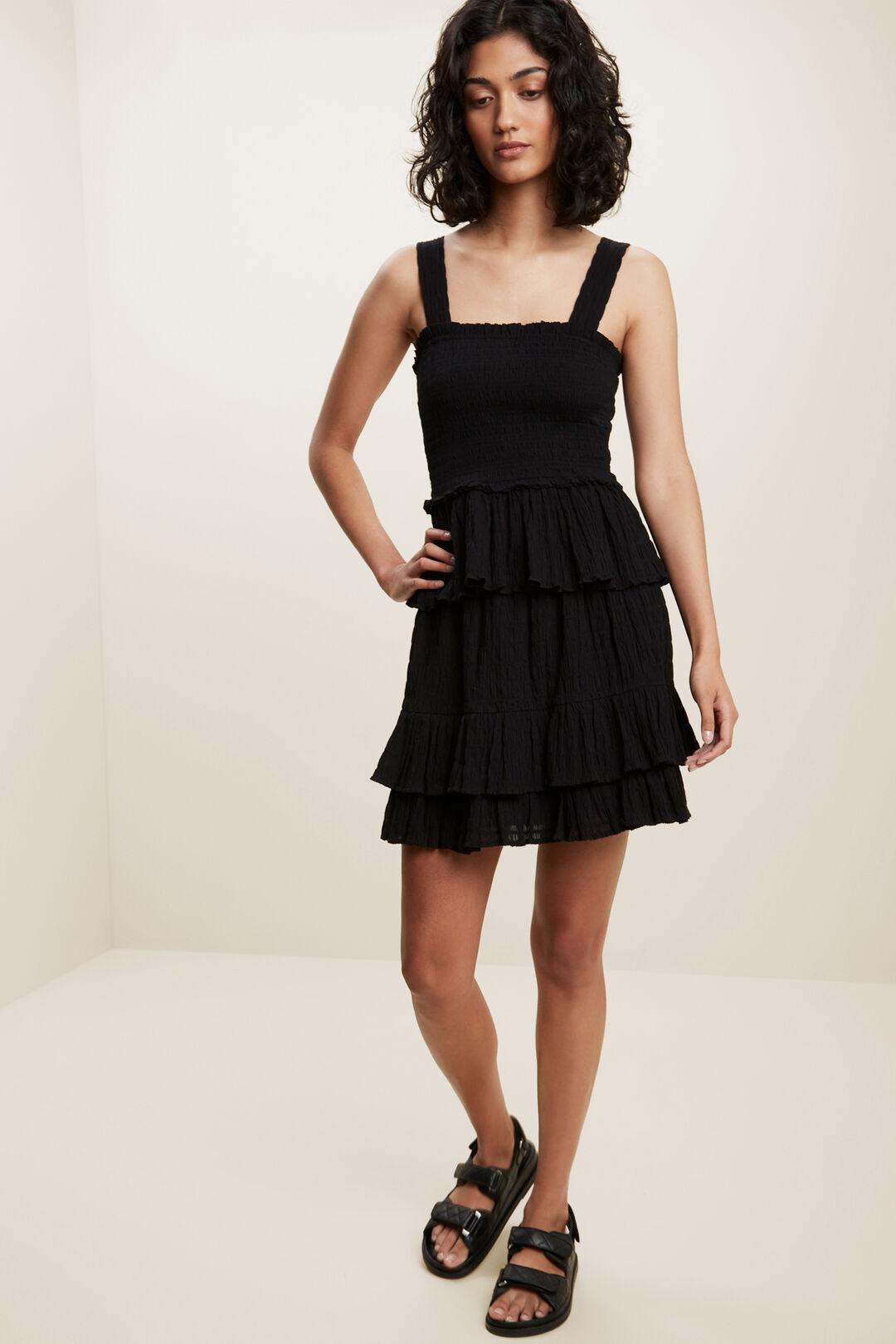 Textured Shirred Cami  BLACK  hi-res