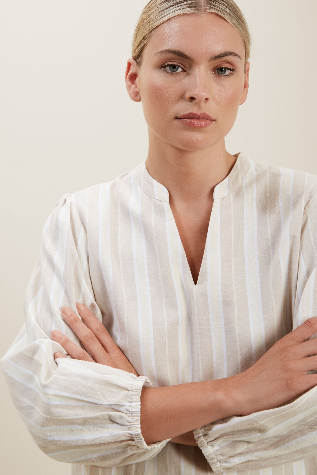 Stripe Blouson Sleeve Blouse  HAZEL WOOD STRIPE  hi-res