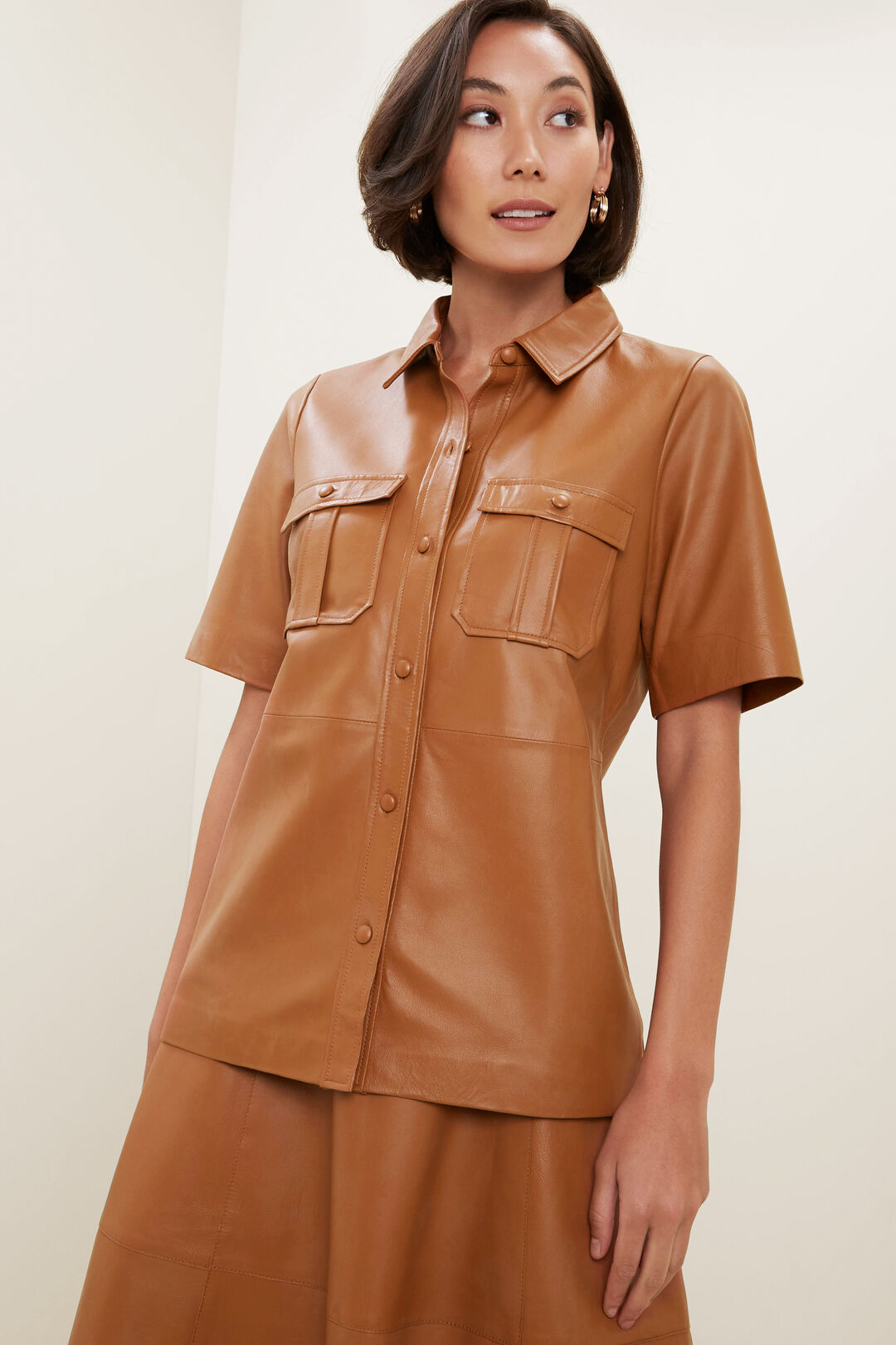 Leather Shirt  BURNT BRONZE  hi-res