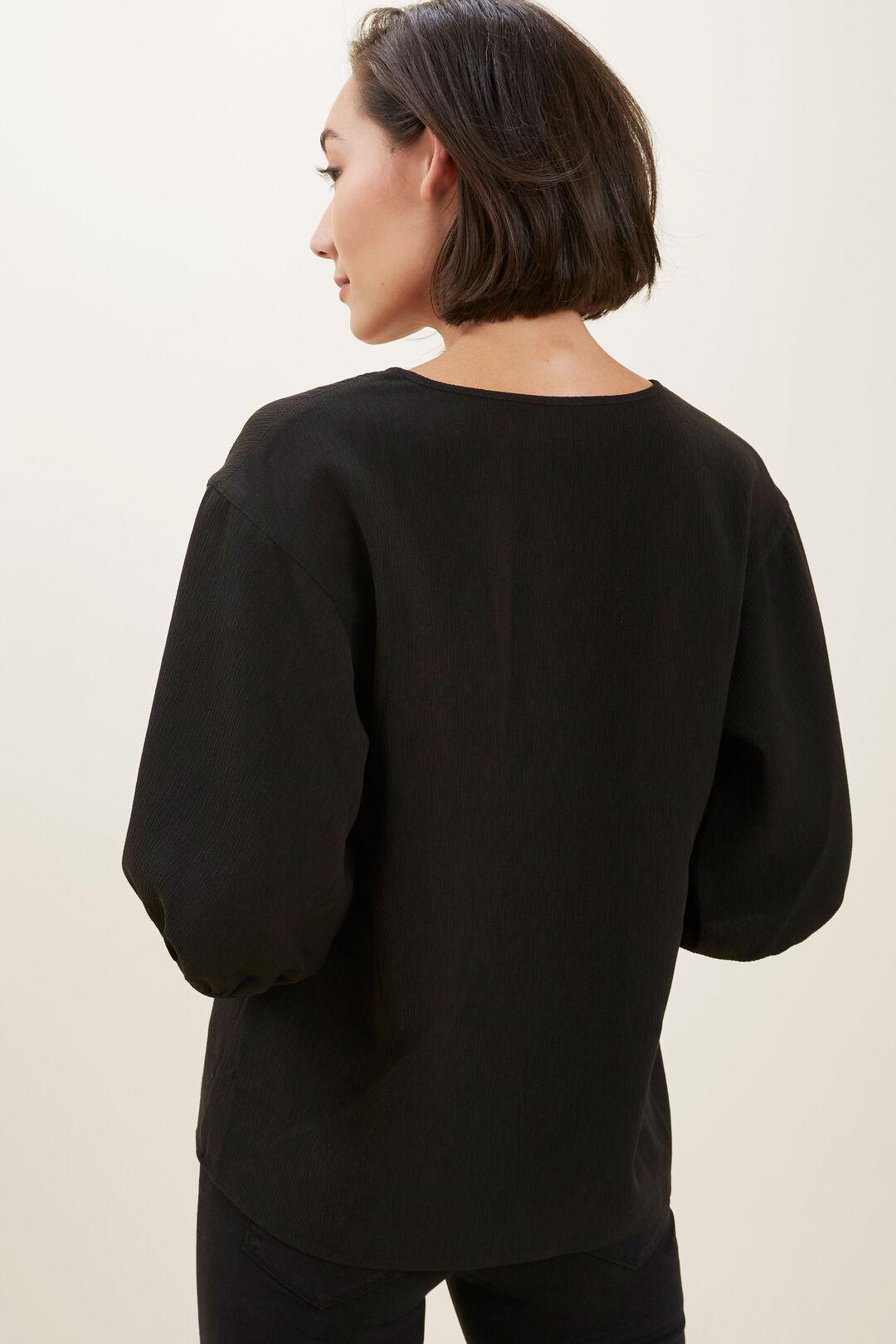 Textured V Neck Blouse  BLACK  hi-res