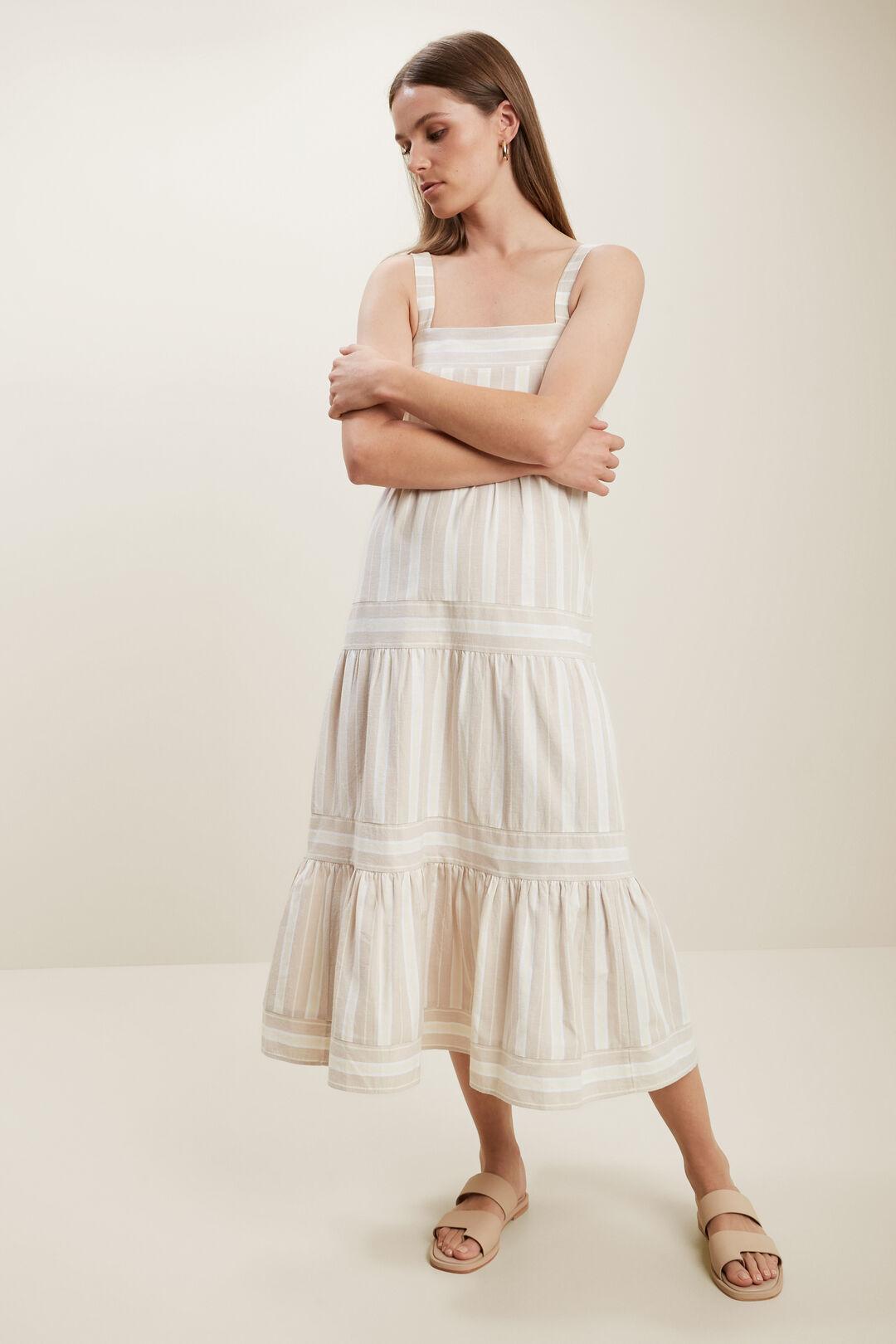 Stripe Midi Dress  HAZEL WOOD STRIPE  hi-res