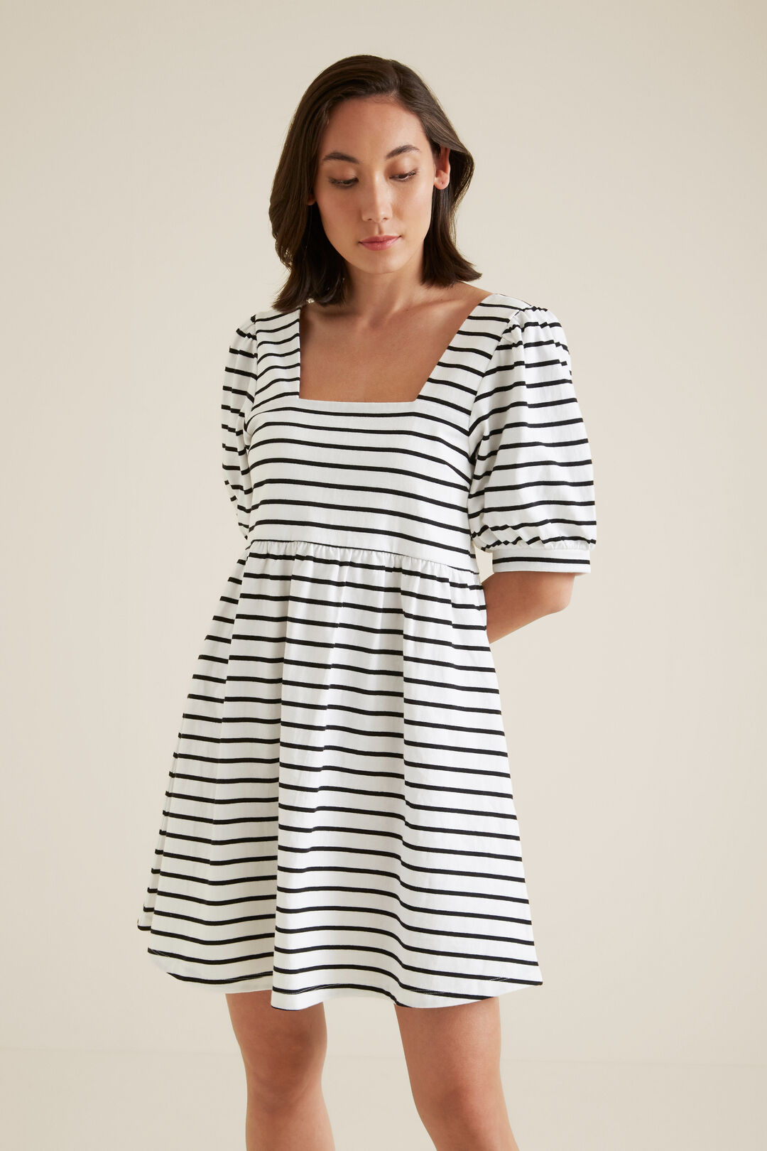 Babydoll Jersey Dress  BLACK STRIPE  hi-res