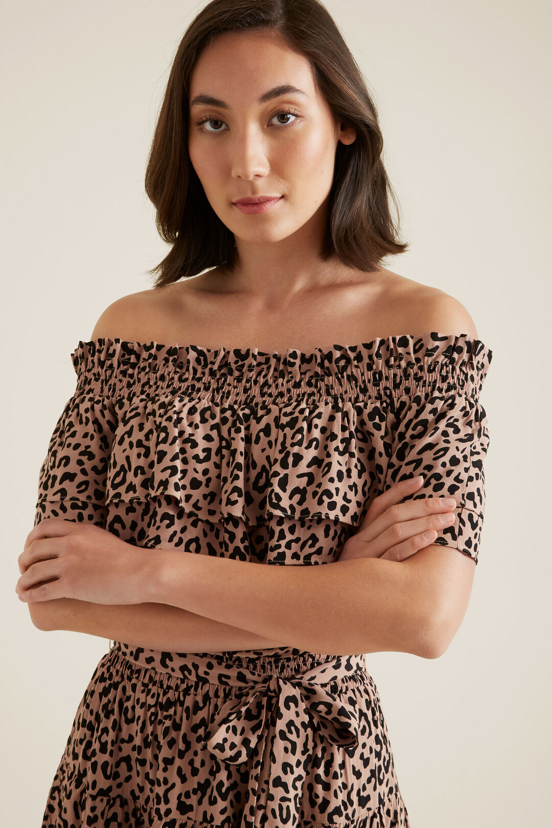 Ocelot Off Shoulder Dress  SIMPLE OCELOT  hi-res