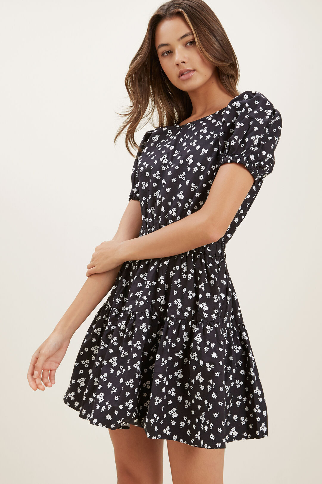 Floral Dress  BLACK  hi-res