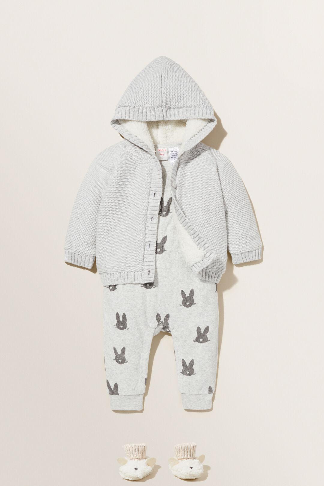 Knitted Sherpa Hoodie  PALE GREY MARLE  hi-res