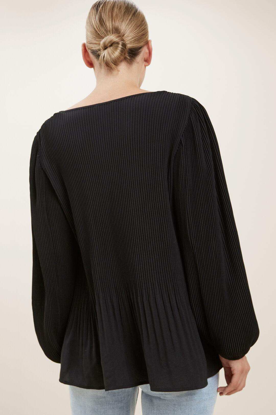 Textured Pleat Blouse  BLACK  hi-res