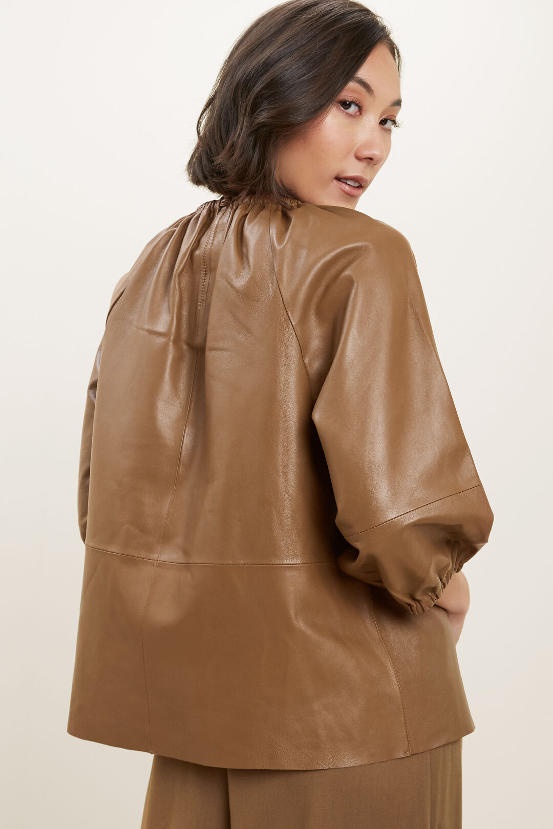 Gathered Leather Blouse  MOLASSES  hi-res