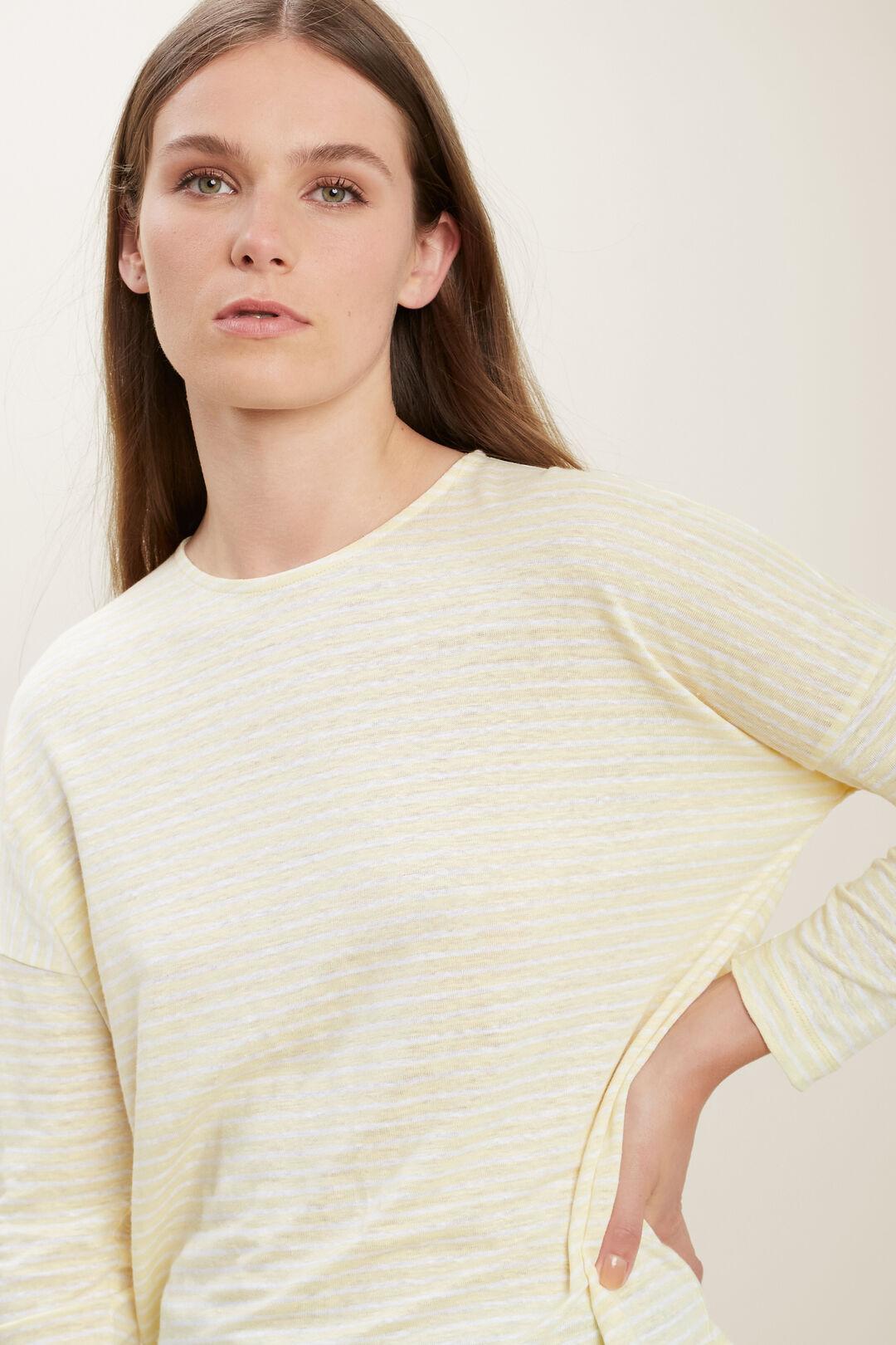 3/4 Sleeve Linen Tee  LIMONCELLO STRIPE  hi-res