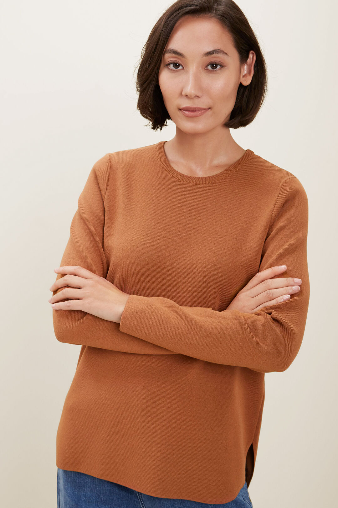 Crepe Knit Sweater  BURNT BRONZE  hi-res