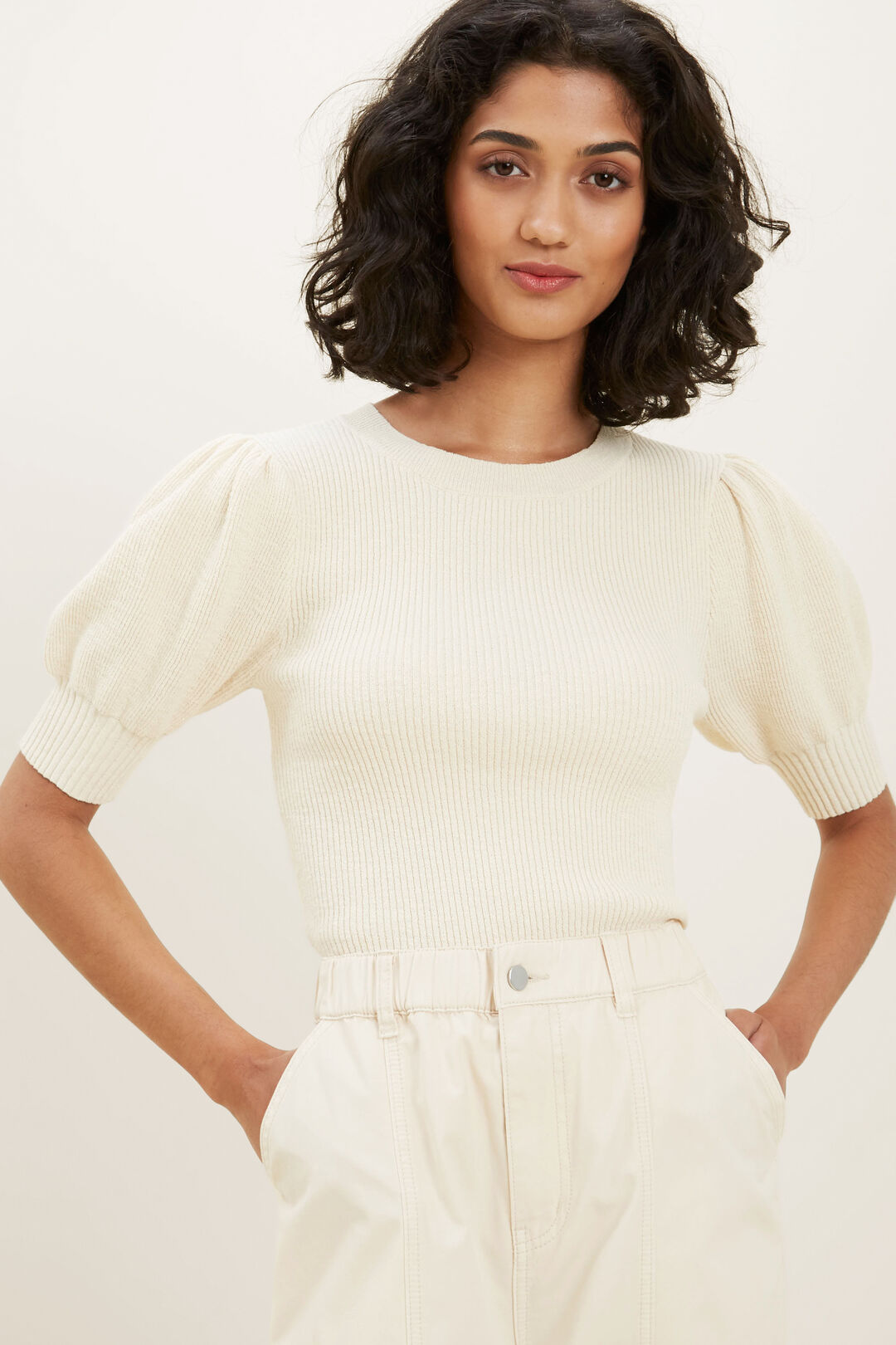 Boucle Knit Top  FRENCH BEIGE  hi-res