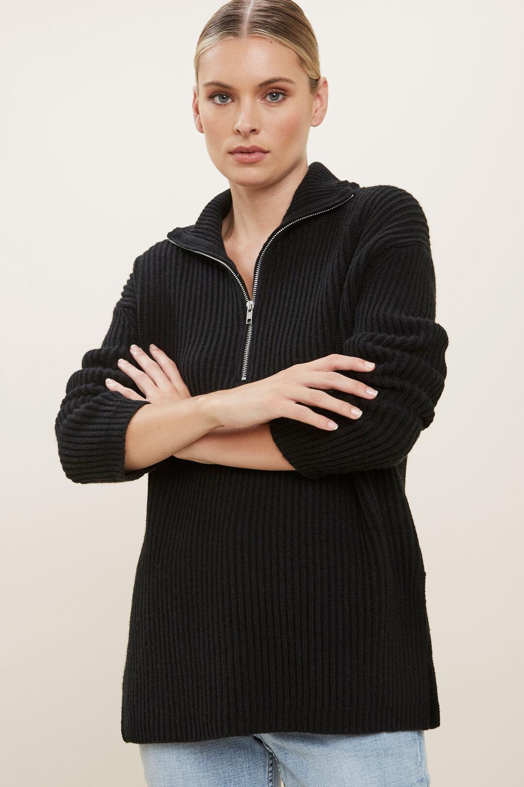 Longline Collared Sweater  BLACK  hi-res