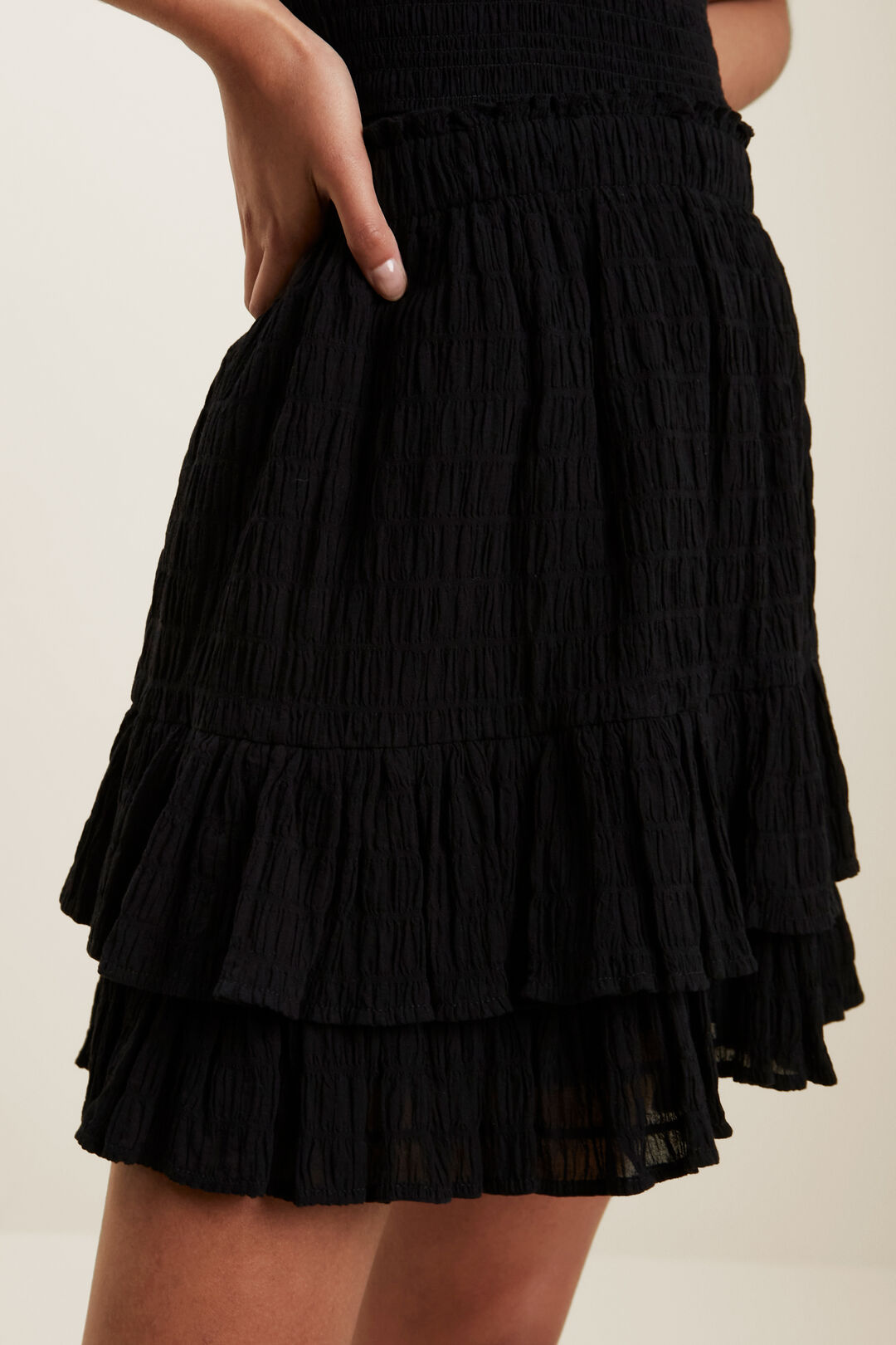 Textured Ruffle Mini Skirt  BLACK  hi-res
