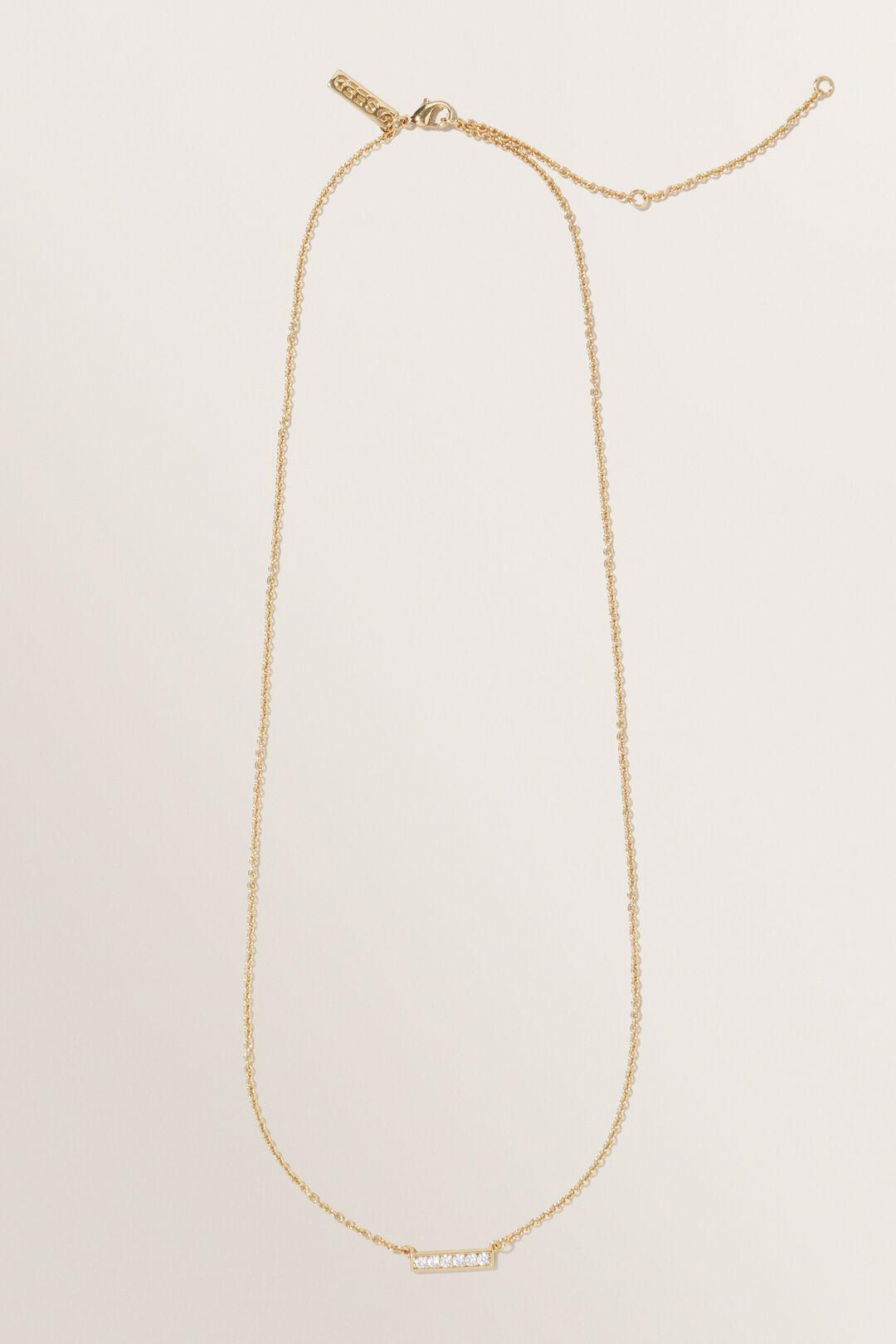 Fine Diamante Bar Necklace  GOLD  hi-res