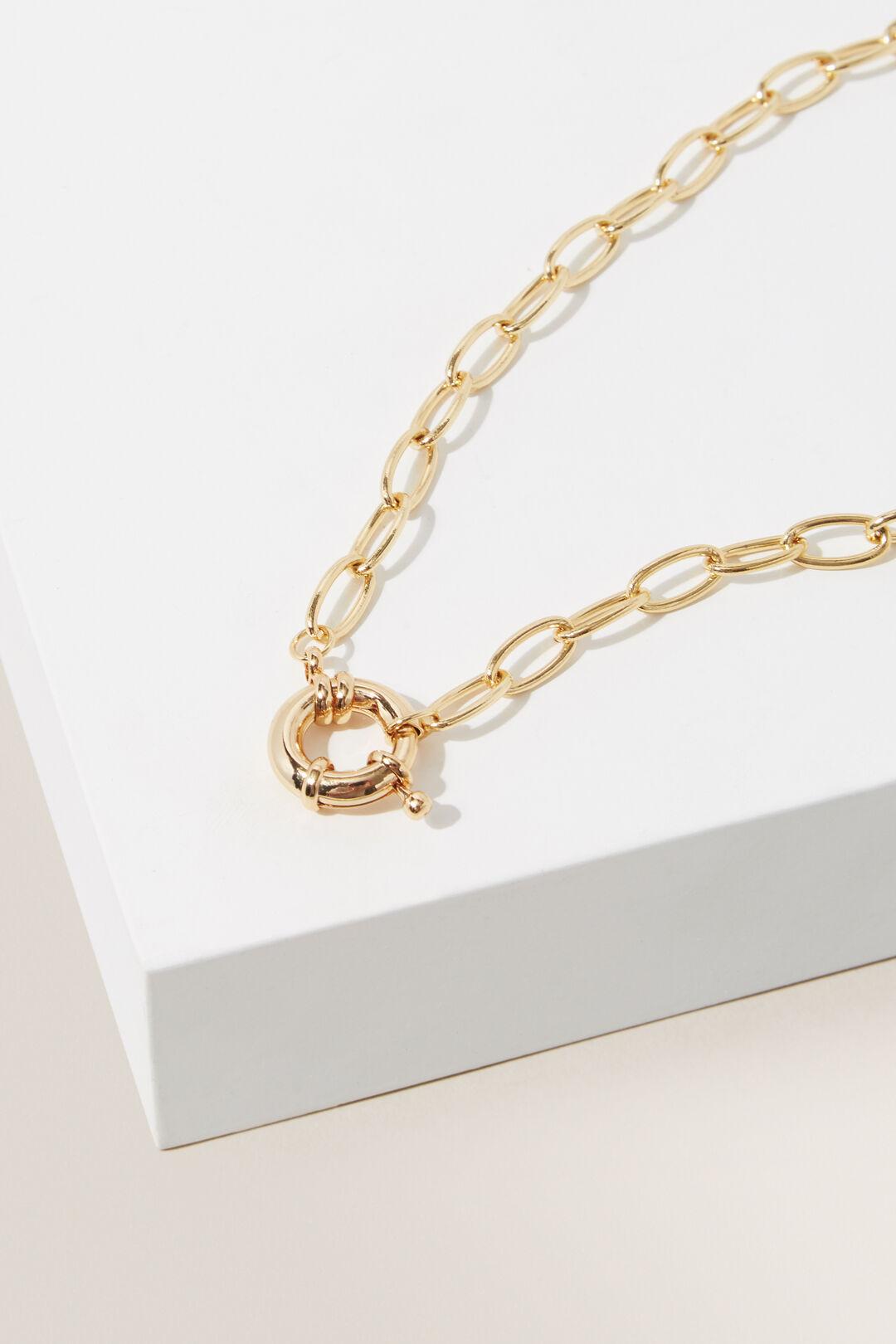 Fine Clasp Chain Necklace  GOLD  hi-res