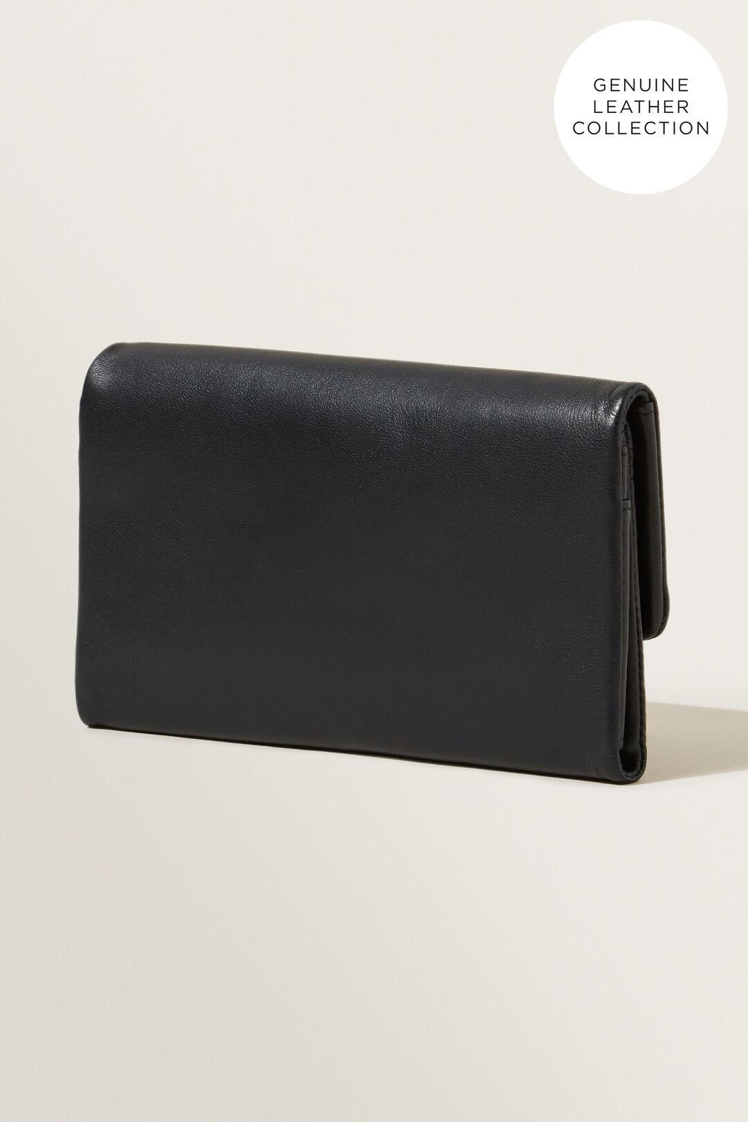 Leather Fold Over Wallet  BLACK  hi-res