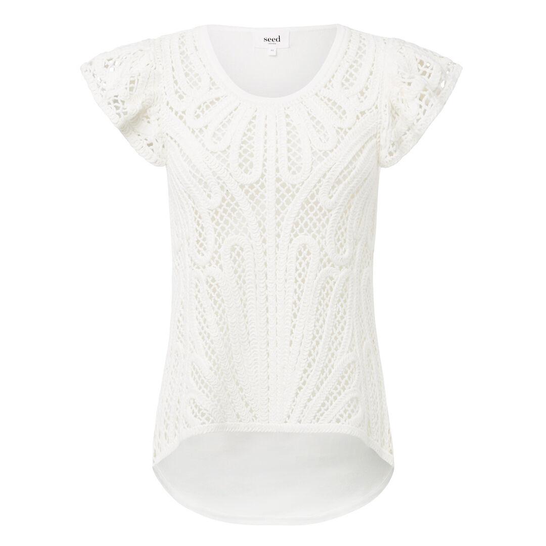 Crochet Lace Tee  WHITE  hi-res
