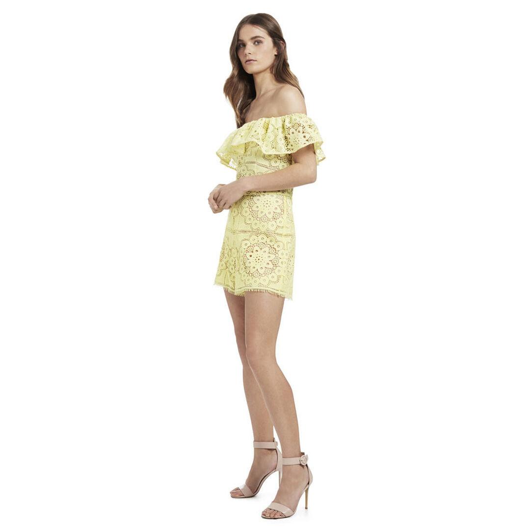 Off Shoulder Lace Jumpsuit  LIGHT LEMON  hi-res