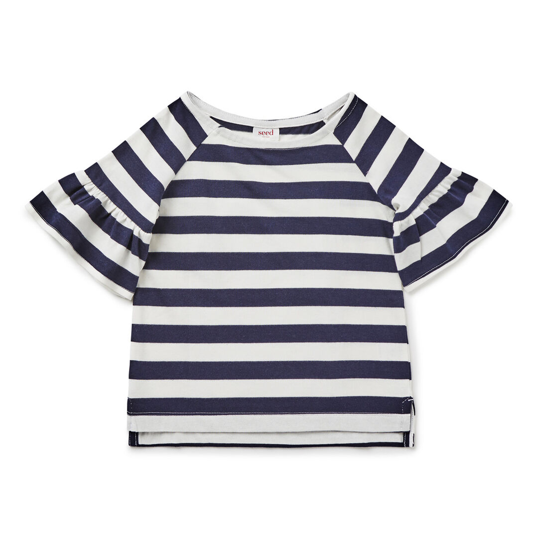 Stripe Frill Sleeve Tee  NAVY  hi-res