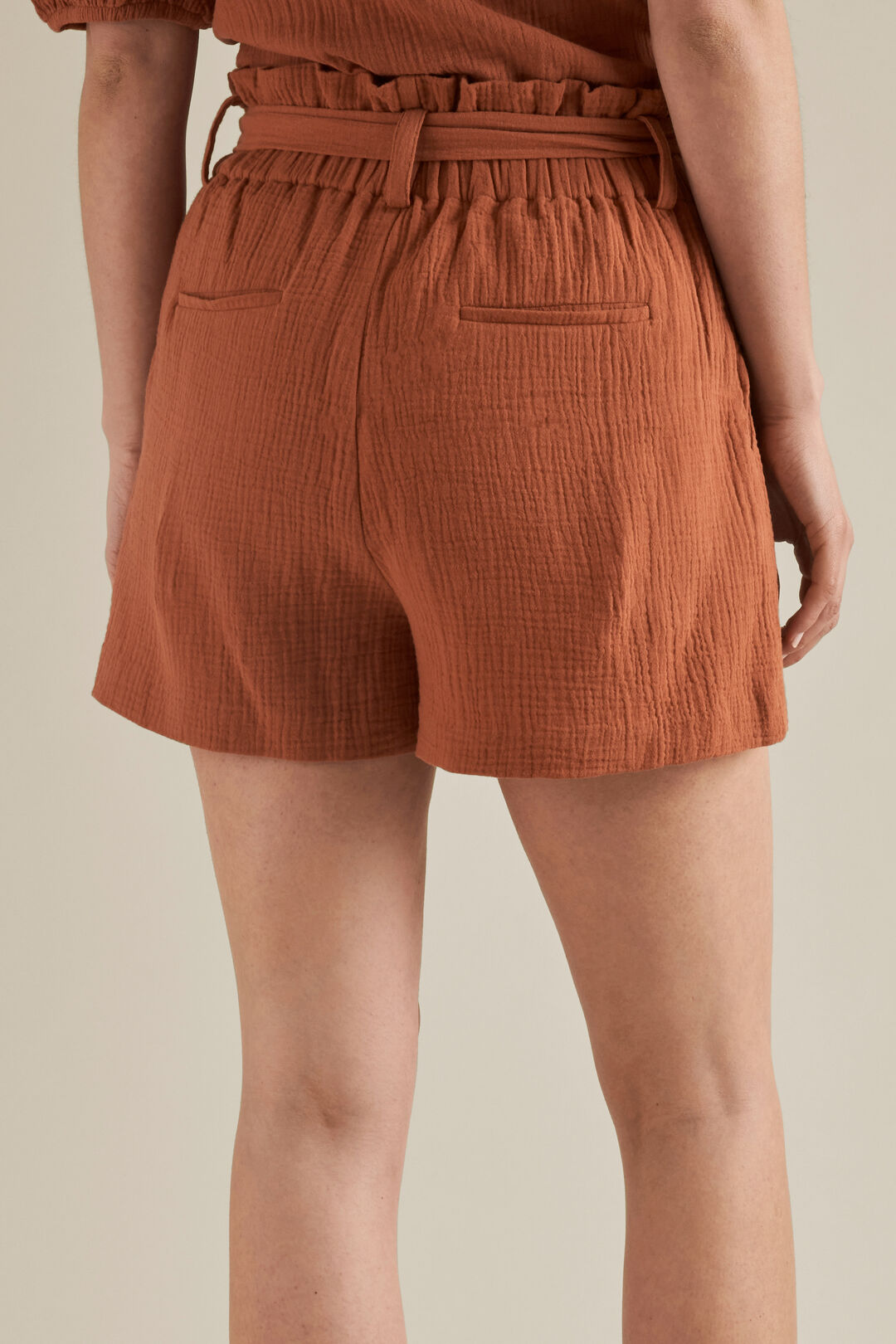 Tie Up Cheesecloth Shorts  MOROCCAN RED  hi-res
