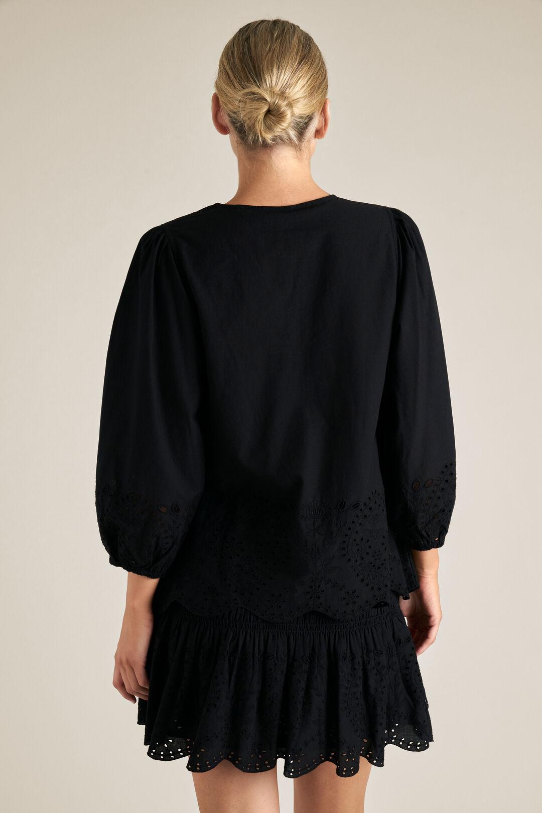Puff Sleeve Broderie Top  BLACK  hi-res