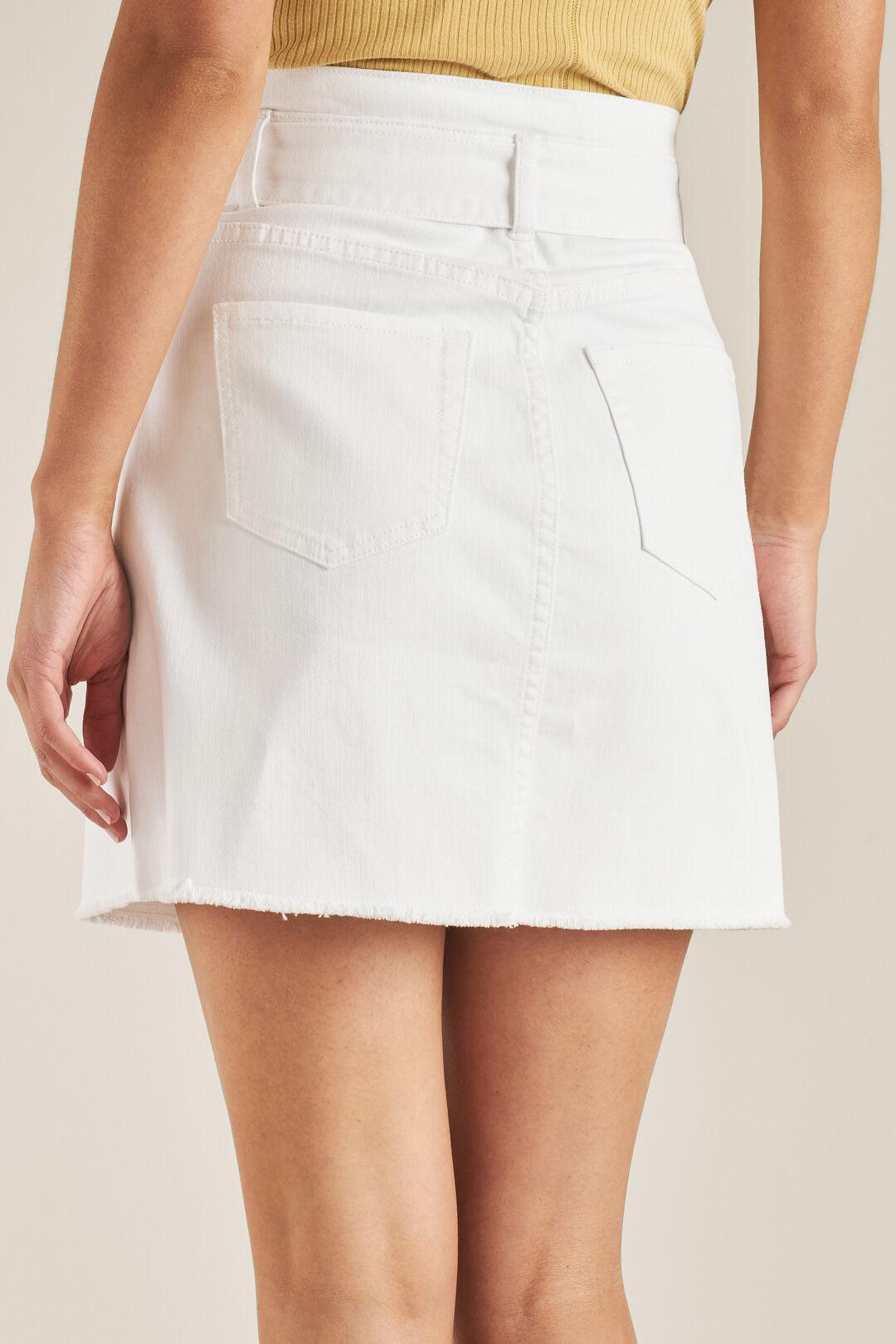 Belted Denim Mini Skirt  WHITE  hi-res