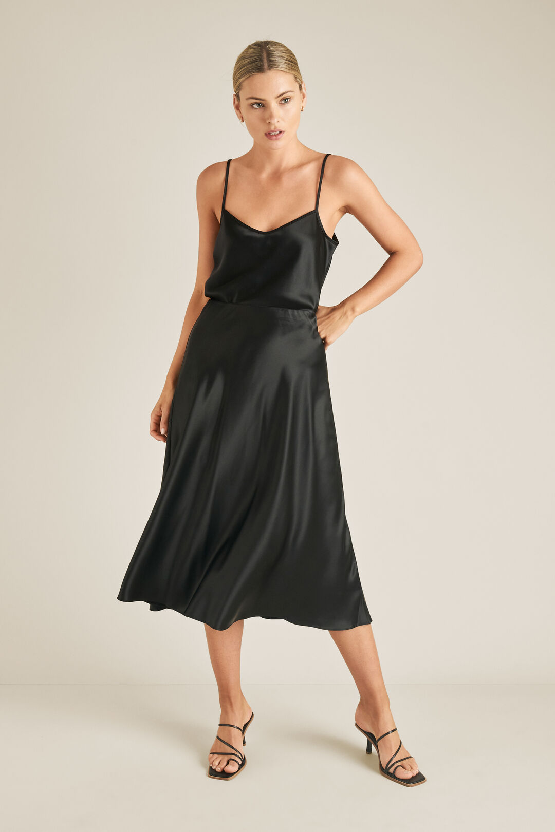 Satin Swing Skirt  BLACK  hi-res