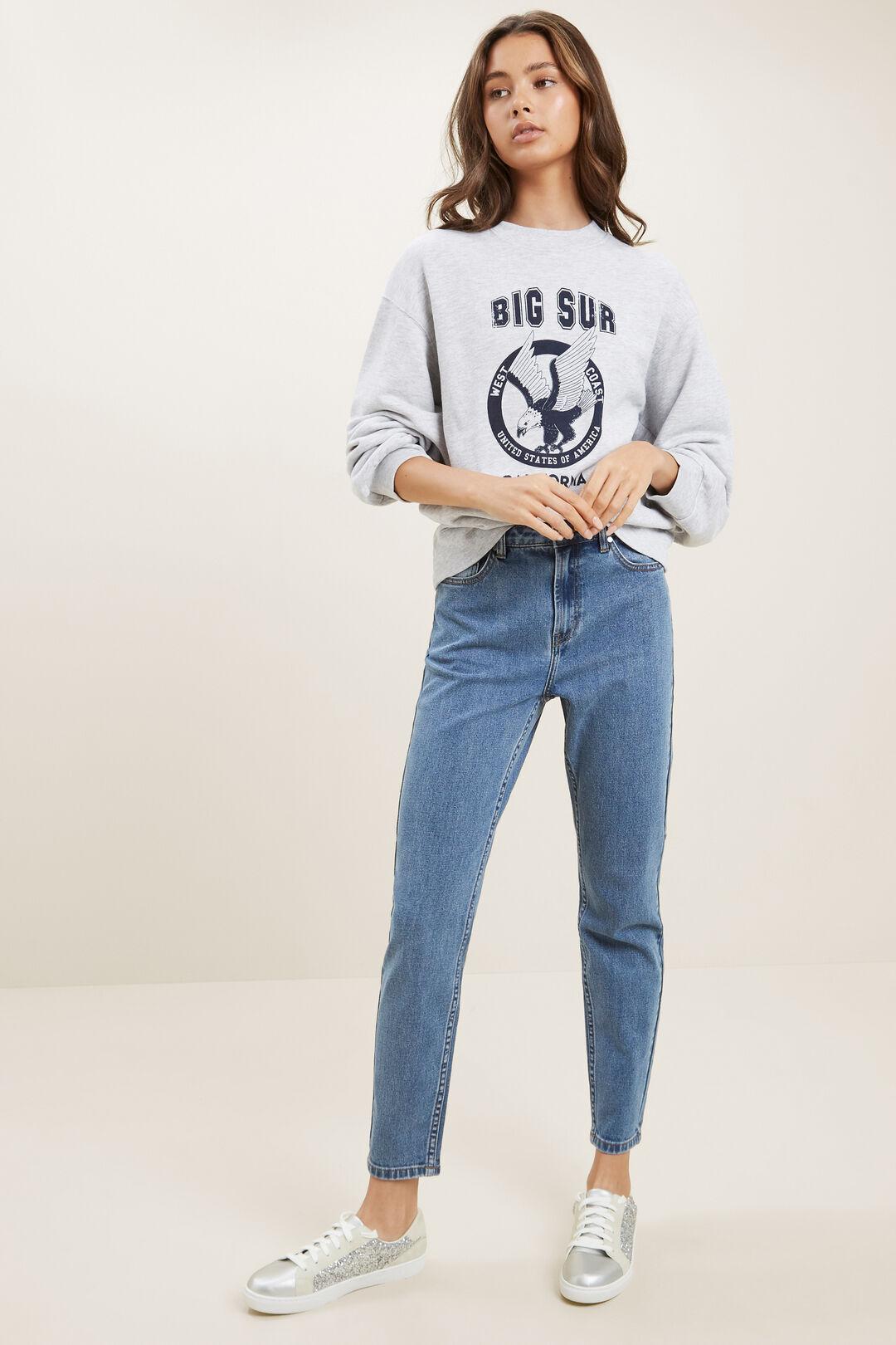 Varsity Cropped Sweater  CLOUD  hi-res