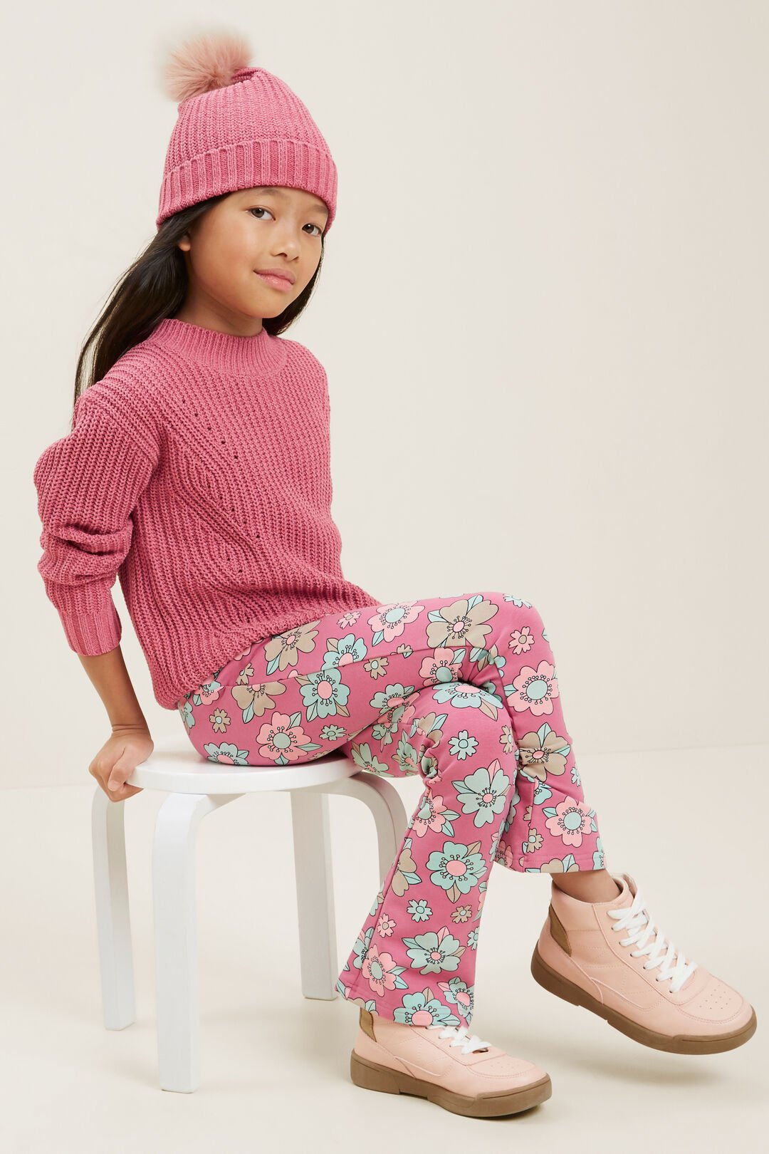 Cable Sweater  BERRY  hi-res