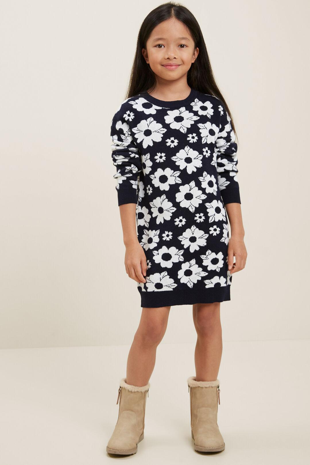 Floral Knit Dress  NAVY  hi-res