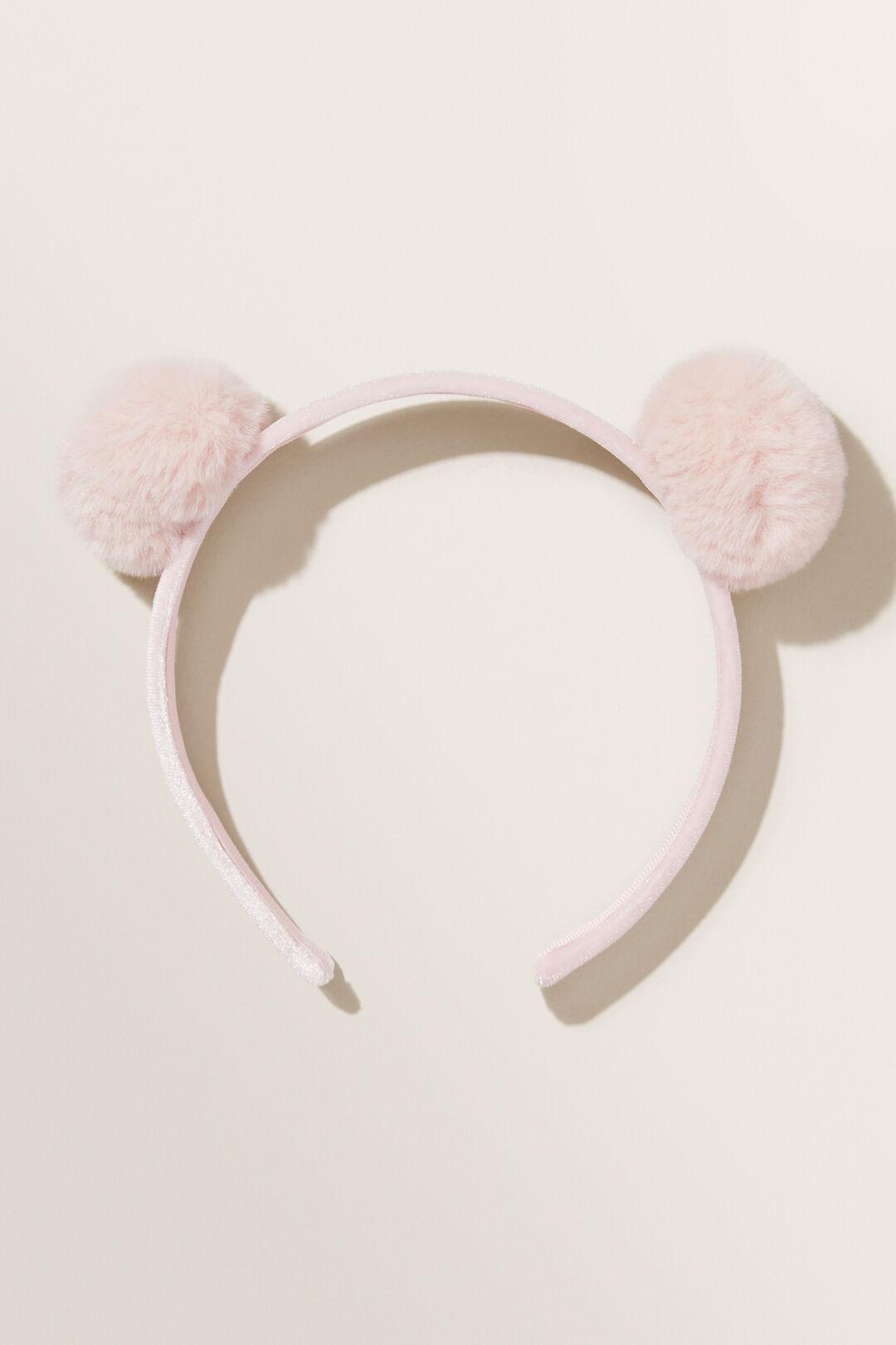 Fur Pom Pom Headband  DUSTY ROSE  hi-res