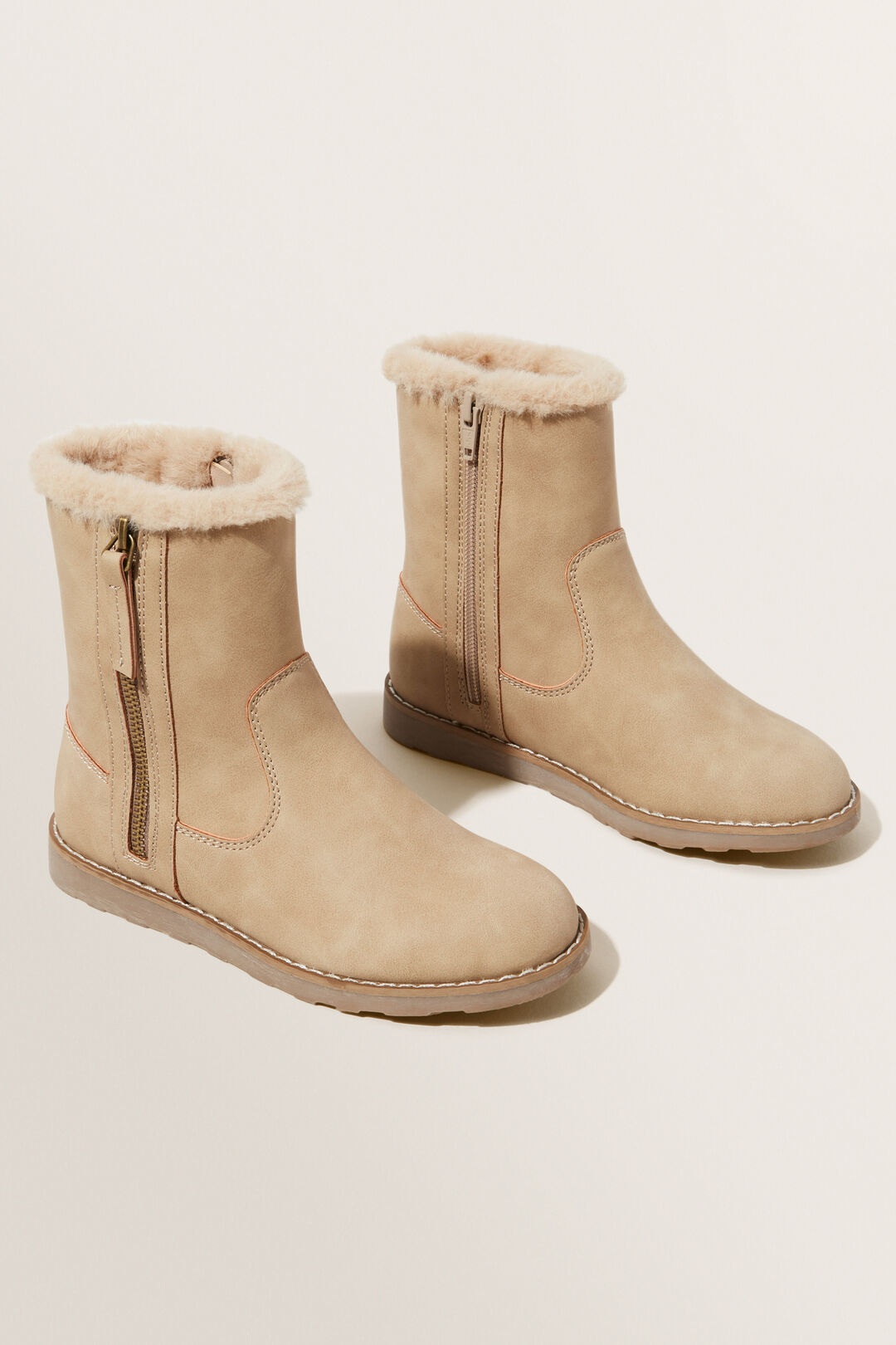 Fur Zipper Boot  CHAI  hi-res