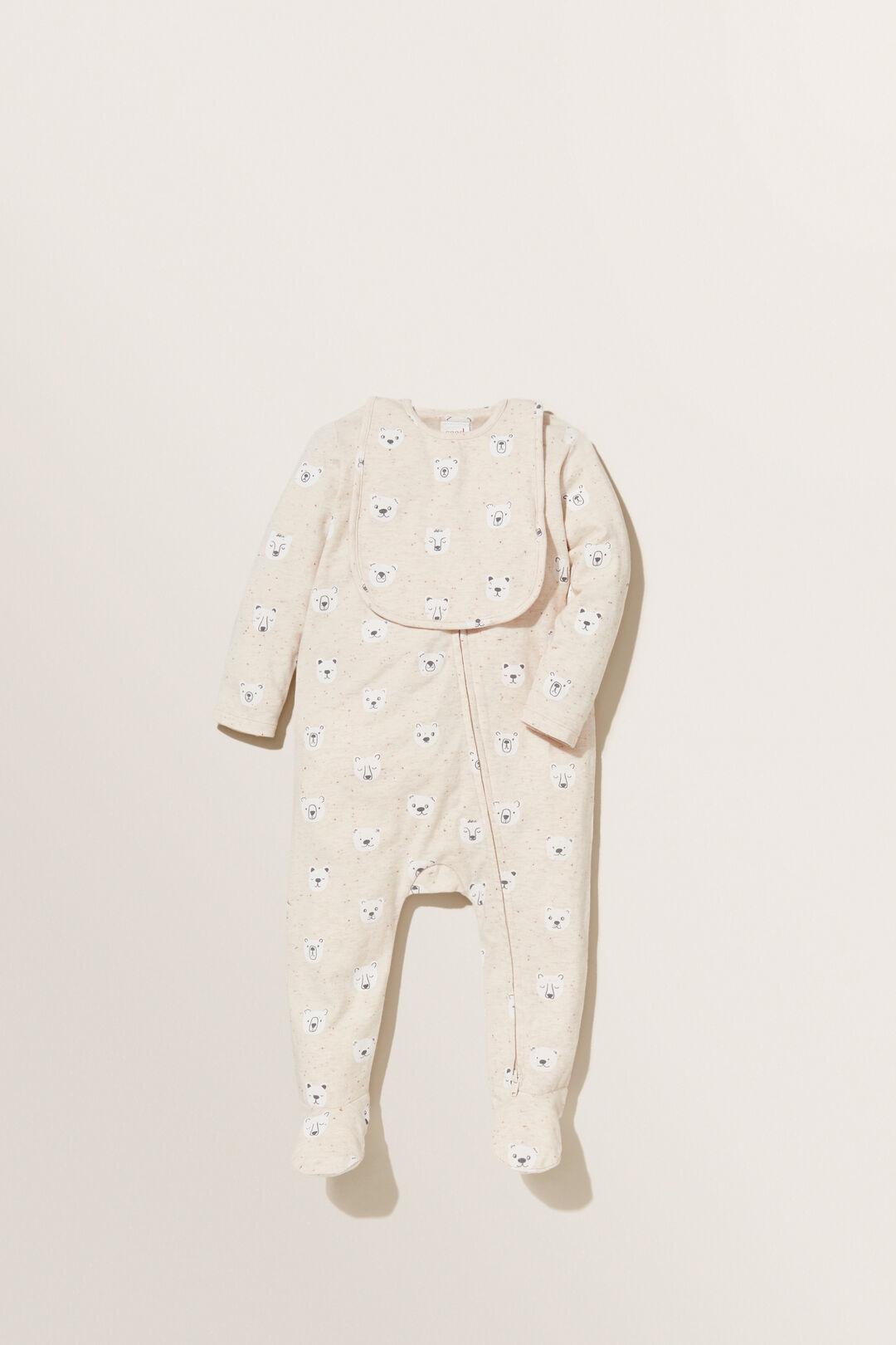 Bear Print Footed Jumpsuit  OAT SPECKLE  hi-res