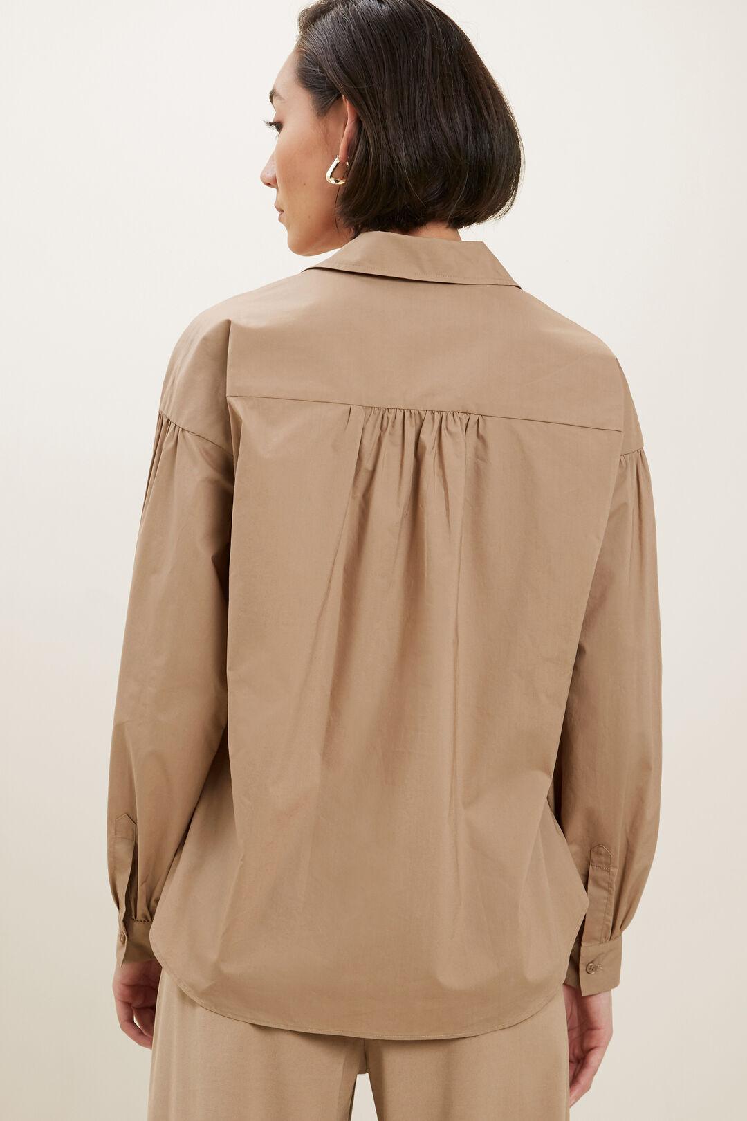 Relaxed Cotton Poplin Shirt  HONEY DEW  hi-res