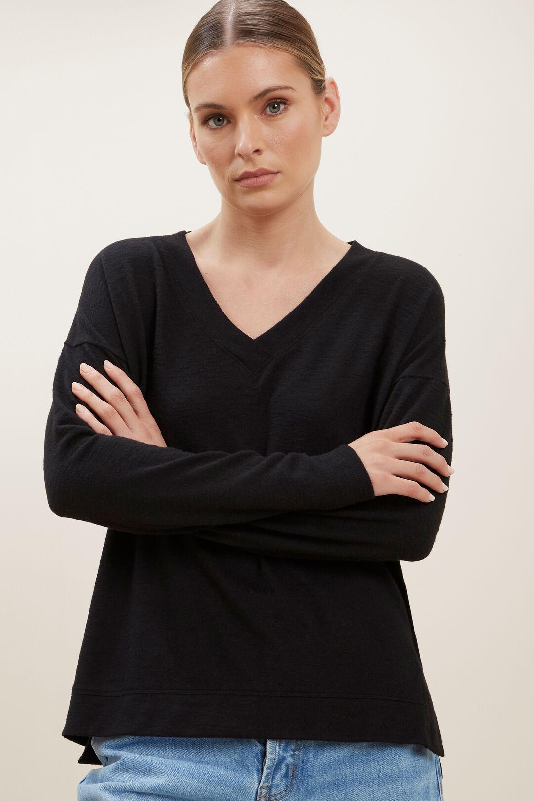 V Neck Supersoft Sweater  BLACK  hi-res