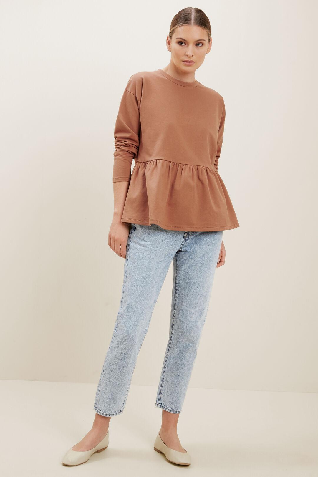 Babydoll Peplum Sweater  BURNT SIENNA  hi-res