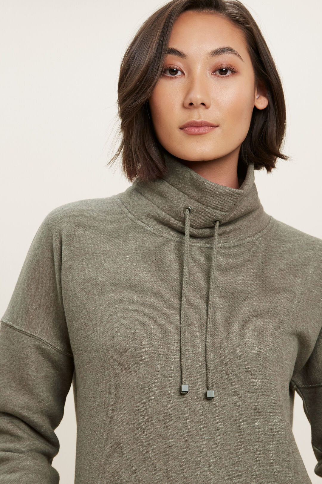 Funnel Neck Terry Top  OLIVE KHAKI MARLE  hi-res