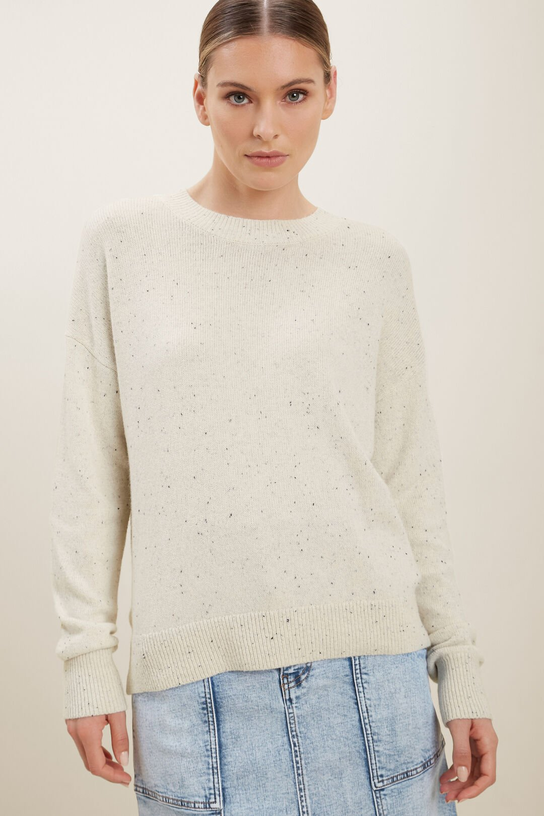 Relaxed Knit Sweater  FRENCH VANILLA FLECK  hi-res