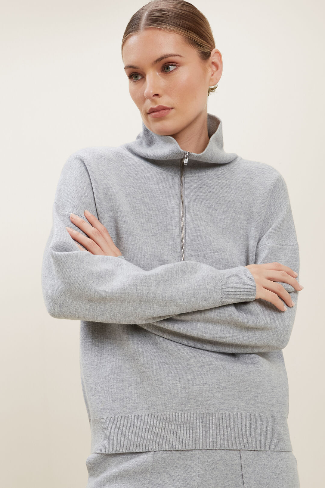 Double Knit Sweater  DIM GREY MARLE  hi-res