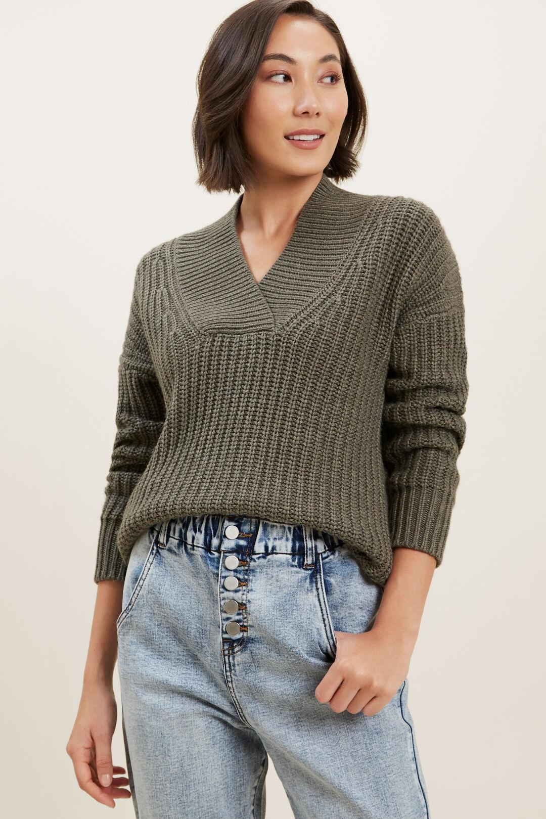 Shawl Collar Sweater  OLIVE KHAKI MARLE  hi-res