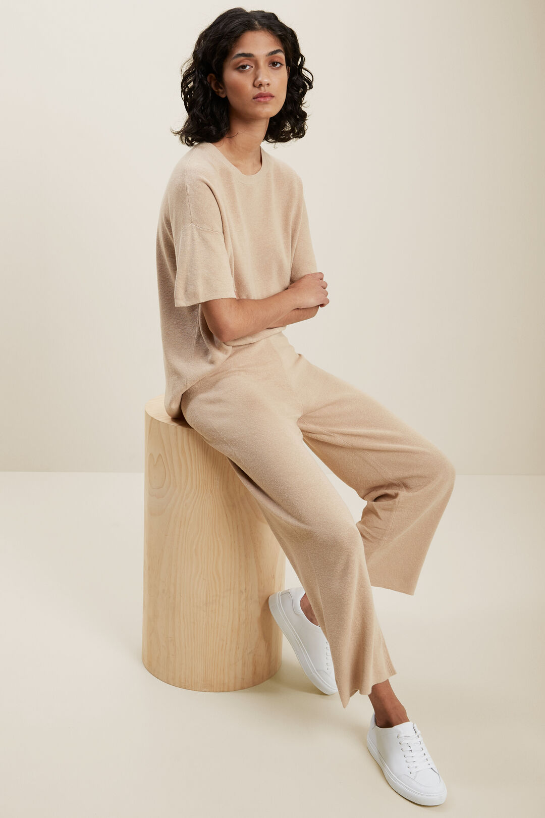 Wide Leg Knitted Pant  BISCOTTI  hi-res