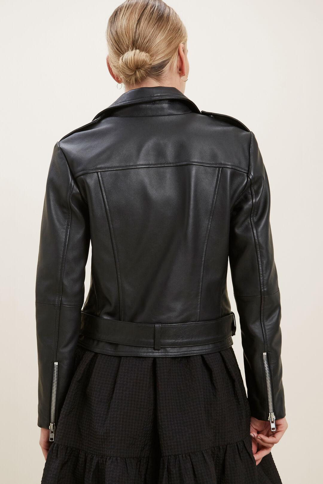 Leather Biker Jacket  BLACK  hi-res